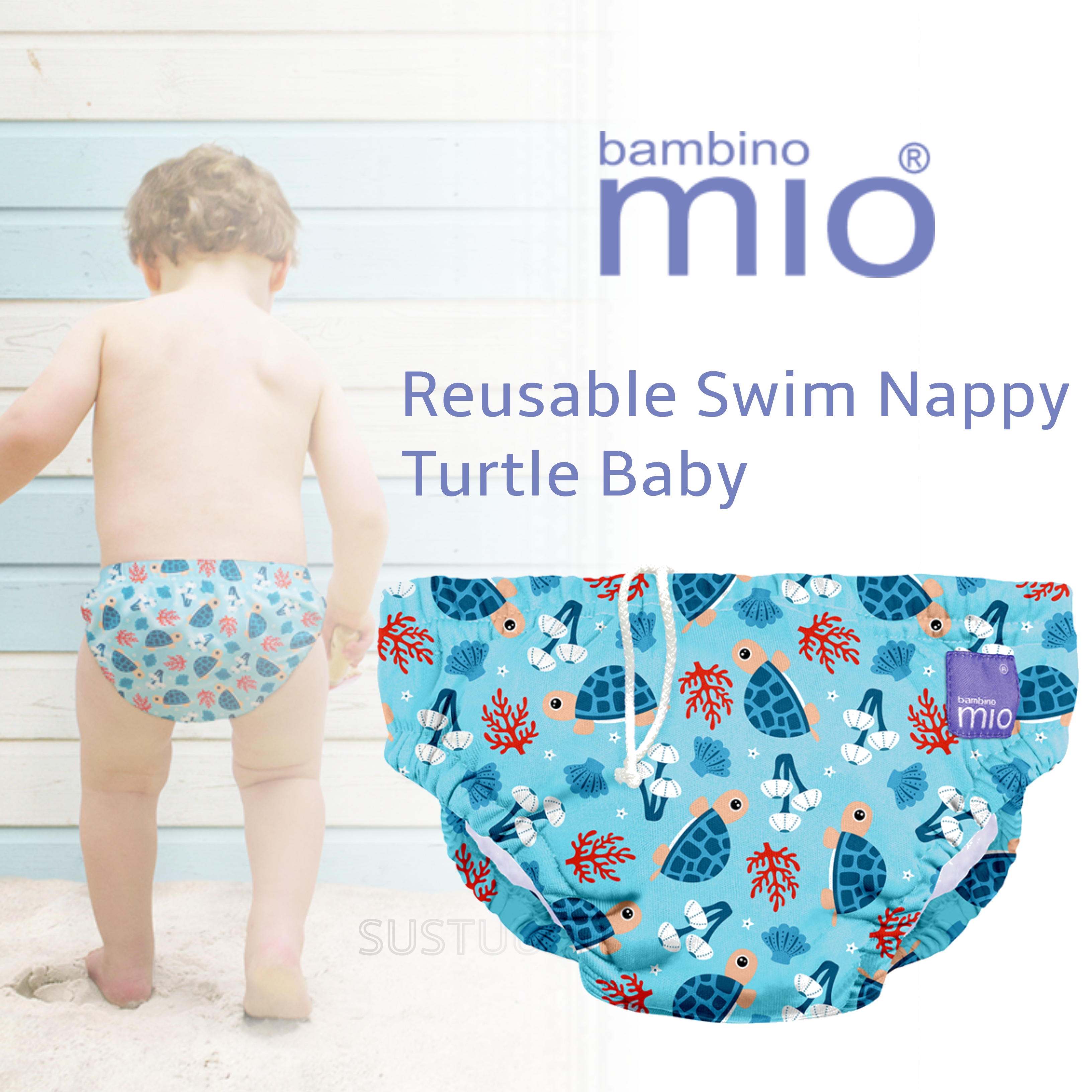 Bambino Mio Reusable Swim Nappy Turtle Baby|Water Resist Layer|Soft Cotton|1-2yrs