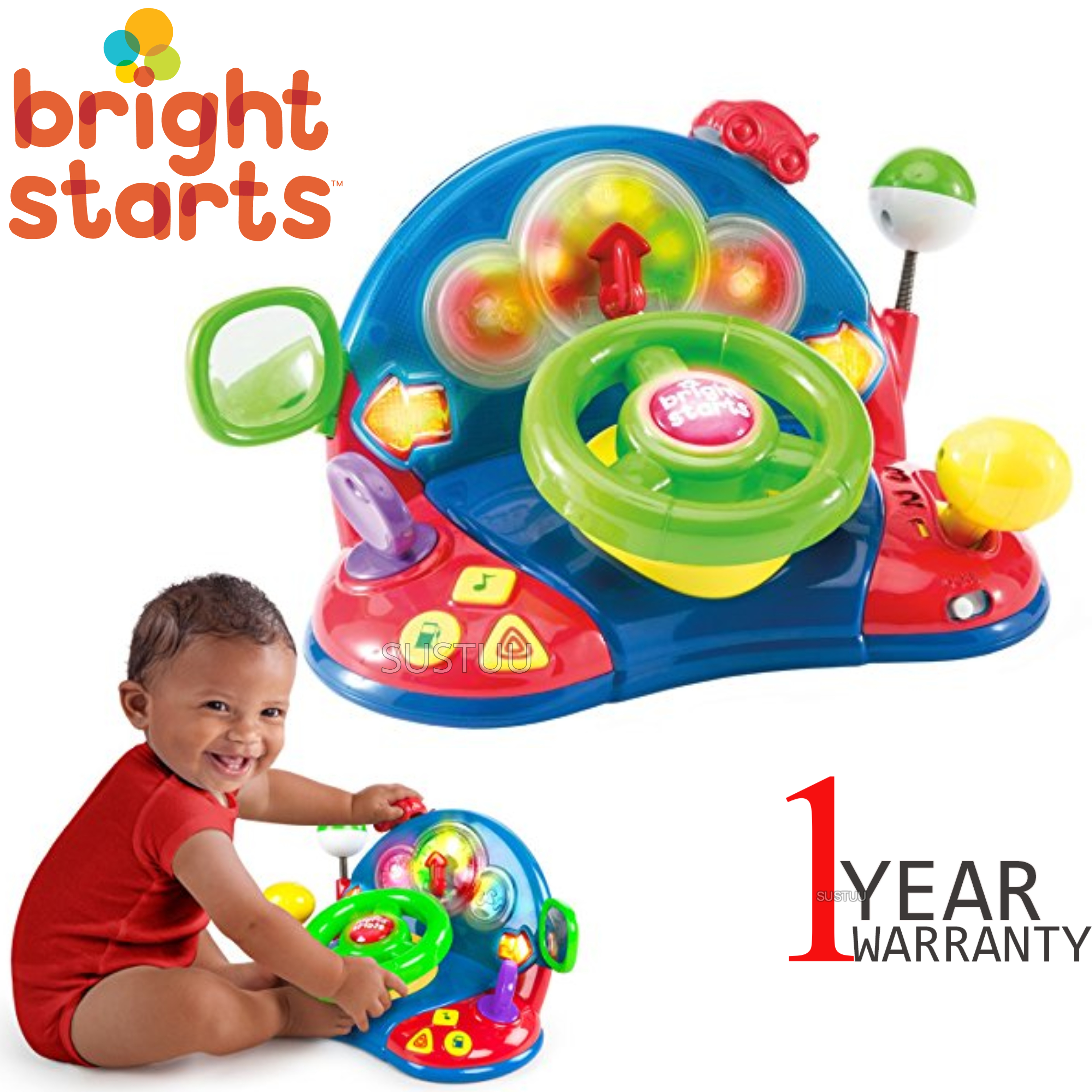 Bright Starts Lights & Colours Driver | Baby/Kids Learning Activity Toy With Music