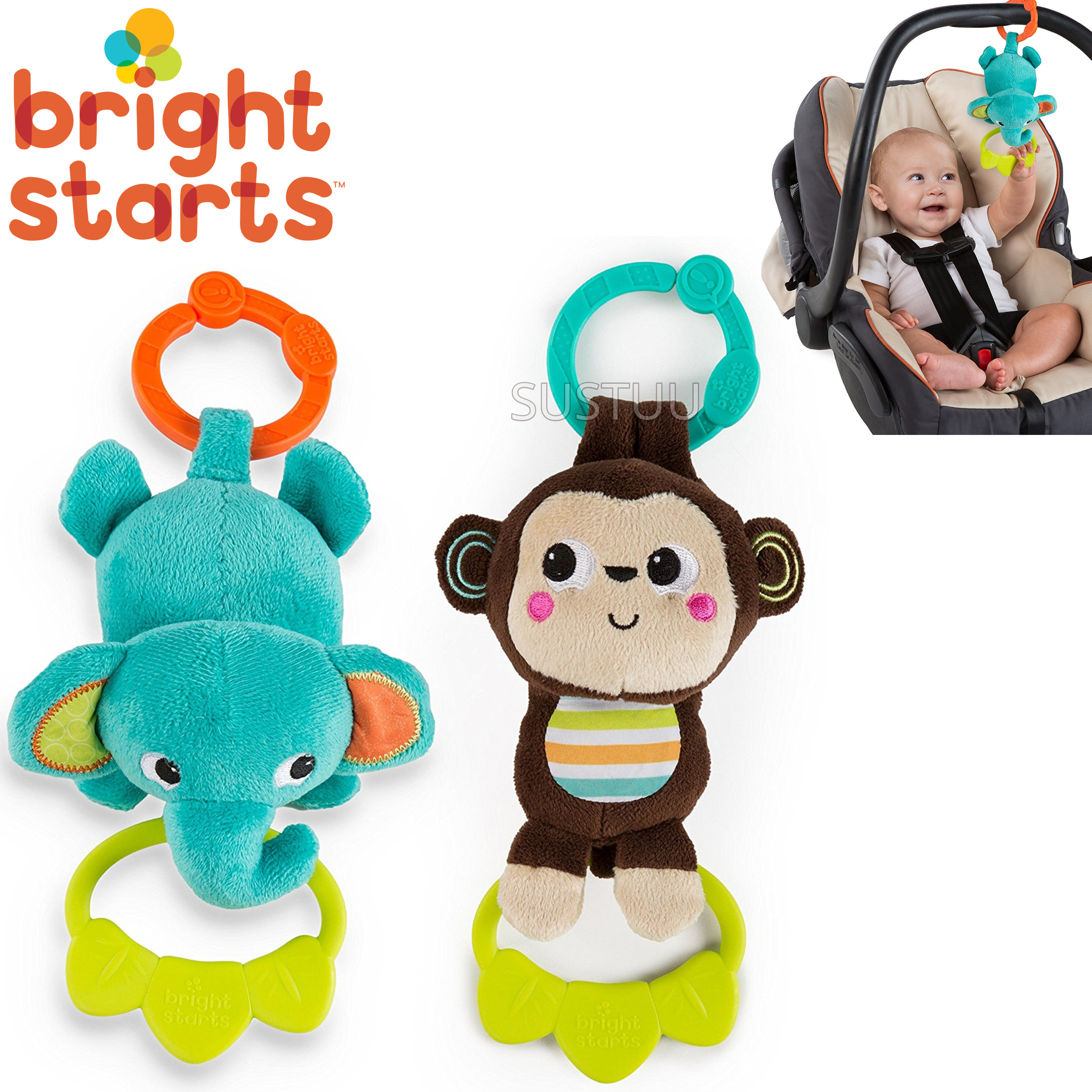 Bright Starts Tug Tunes | Clip On Pram/ Pushchair/ Baby Carrier | With 4 Fun Melodies | +0 Months