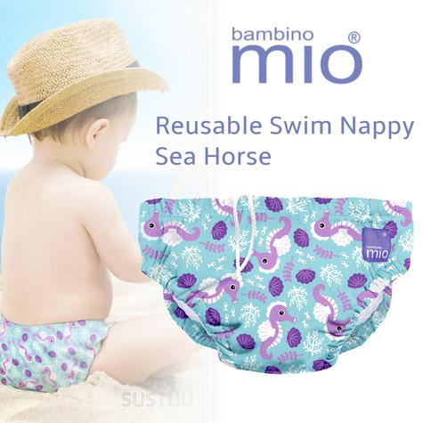 Bambino Mio Reusable Swim Nappy Sea Horse|Water Resist Layer|Soft Cotton|6-12m Thumbnail 1