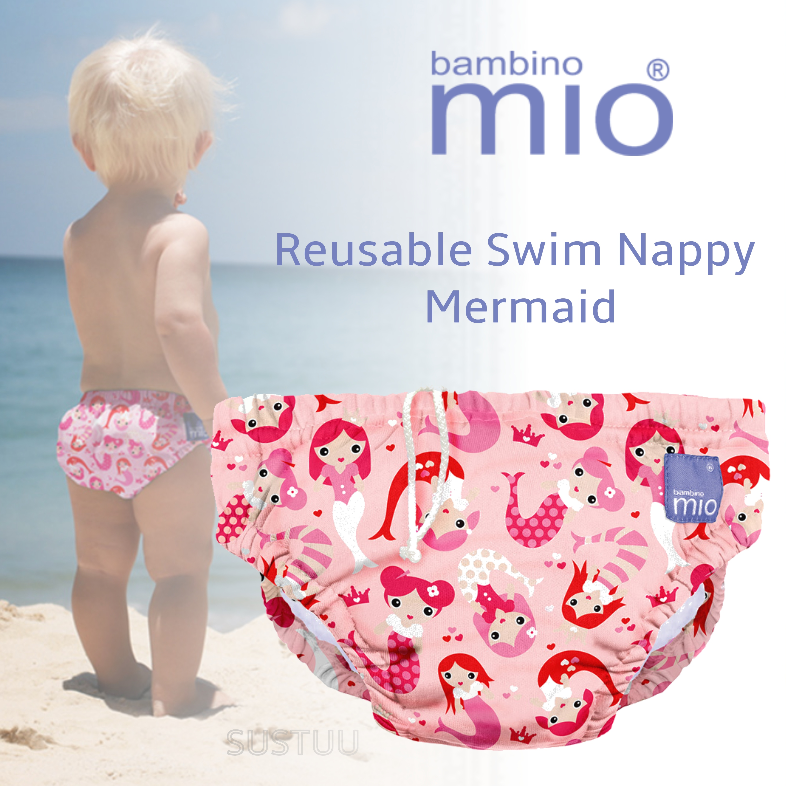Bambino Mio Reusable Kid Swim Nappy Mermaid|Water Resist Layer|Soft Cotton|6-12m