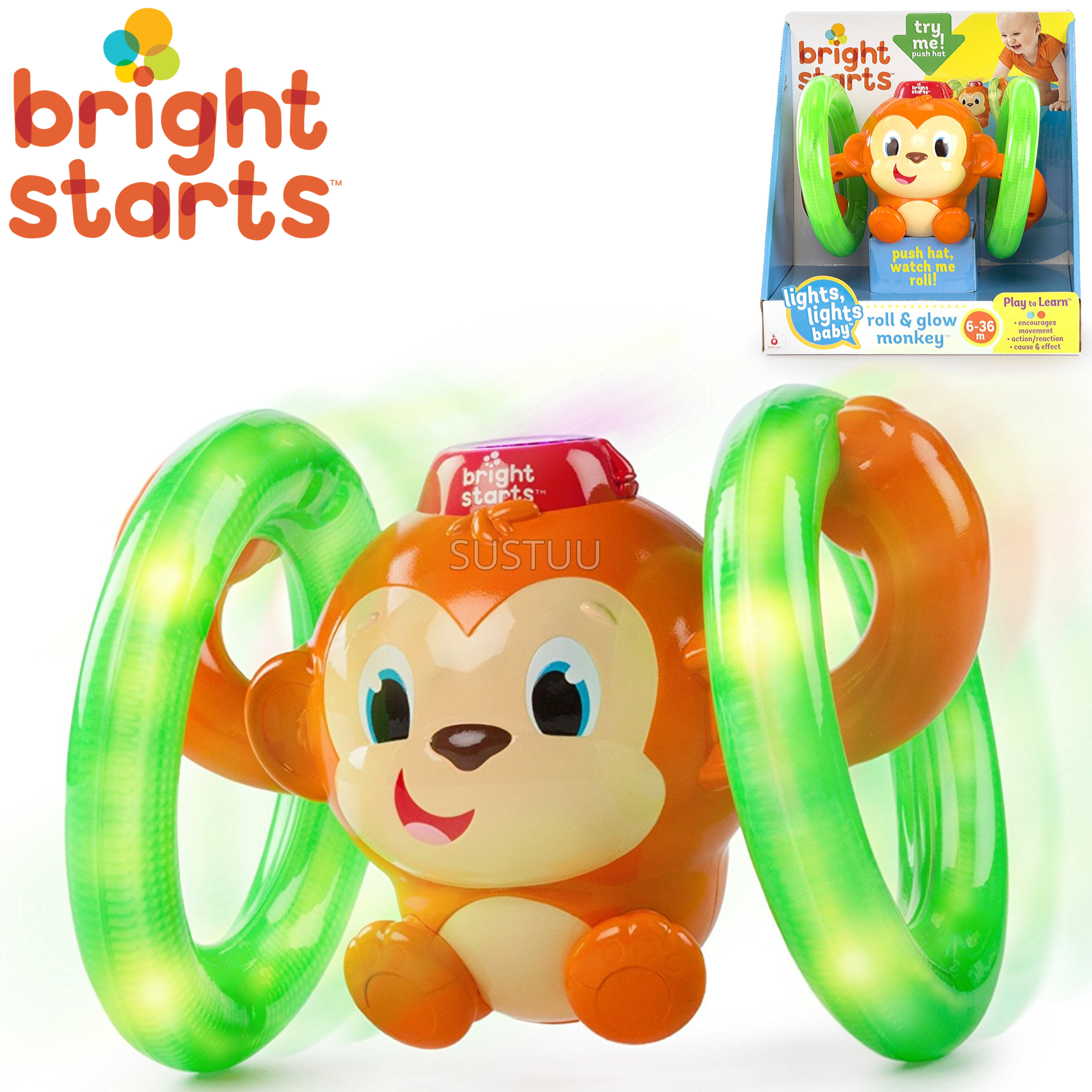 Bright Starts Learn Roll & Glow Monkey | Baby/Kids Activity Toy With Lightup Wheel