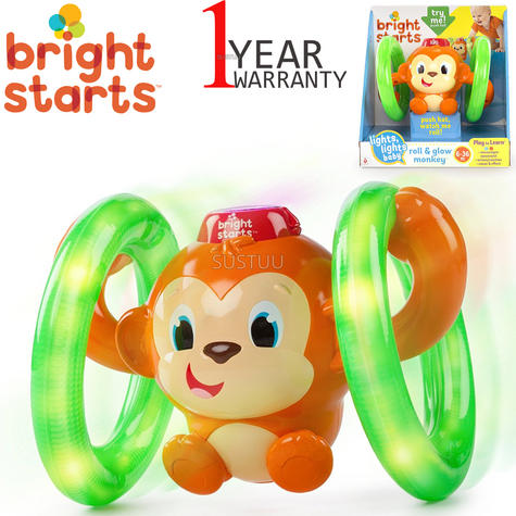 Bright Starts Learn Roll & Glow Monkey | Baby/Kids Activity Toy With Lightup Wheel Thumbnail 1