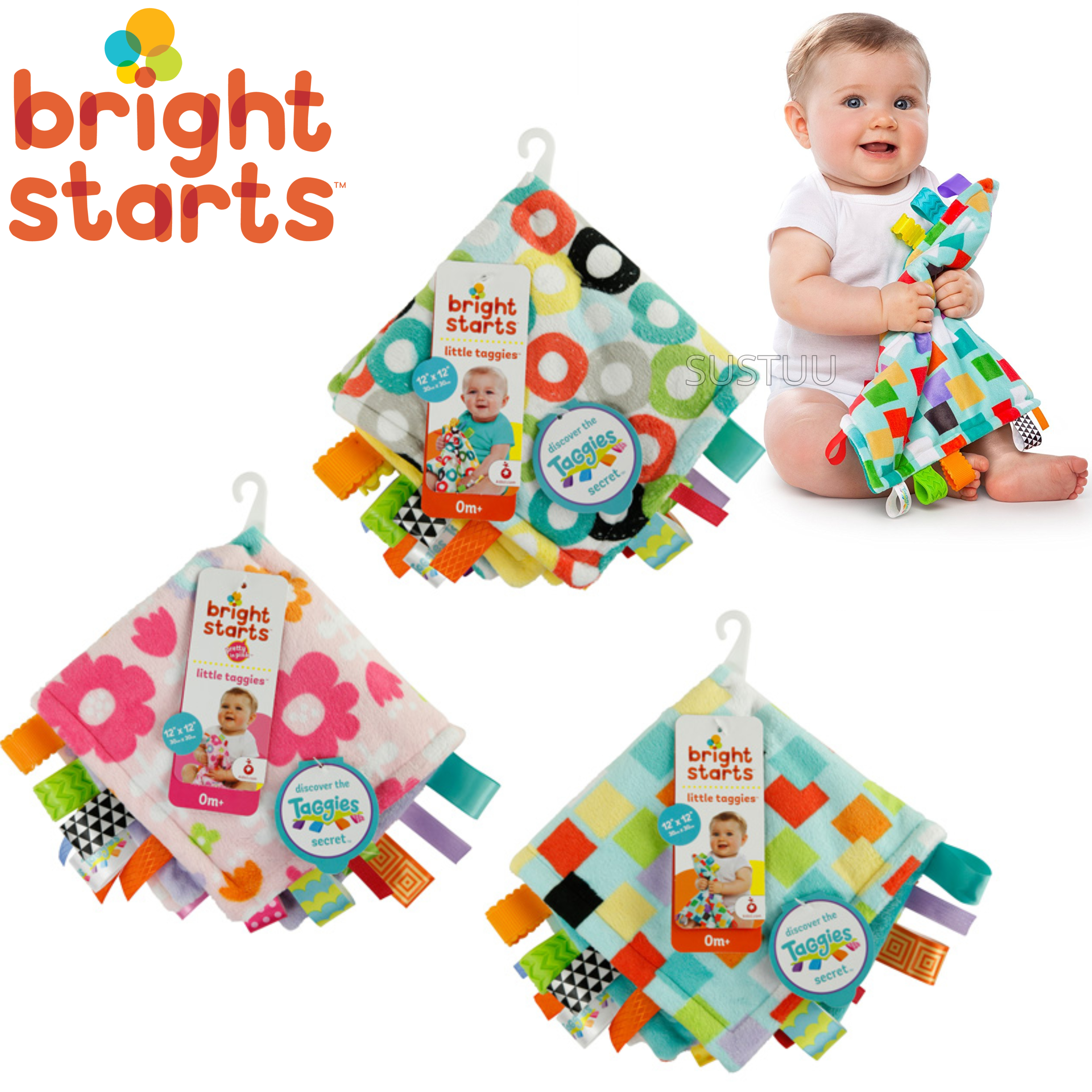 Bright Starts Little Taggies Comfort Blanket (ASSORTMENT) | With Soft Teether Tags