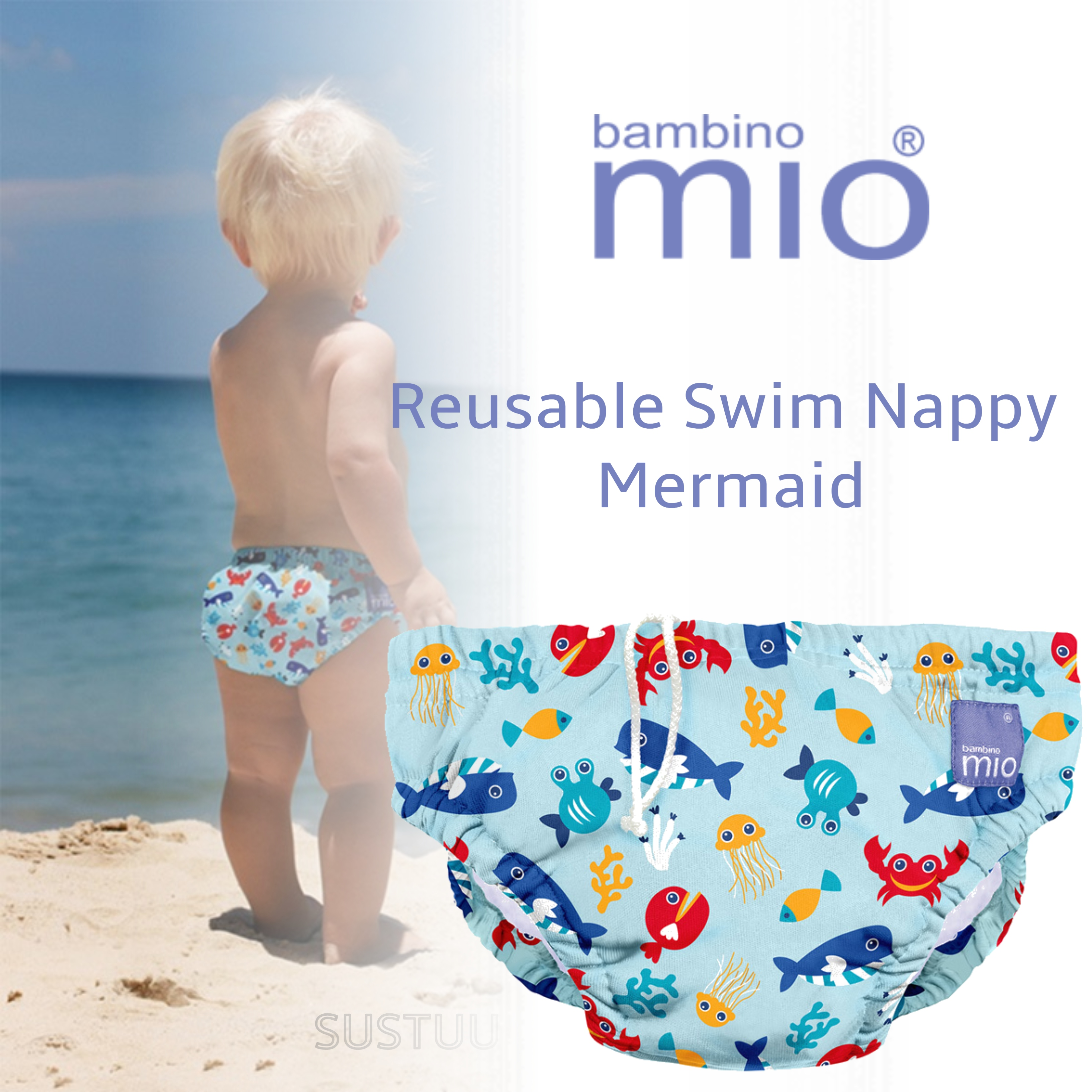 Bambino Mio Baby Reusable Swim Nappy Sea Blue|Water Resist Soft Layer|1-2yrs|New