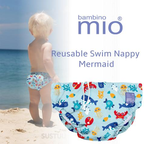 Bambino Mio Baby Reusable Swim Nappy Sea Blue|Water Resist Soft Layer|1-2yrs|New Thumbnail 1