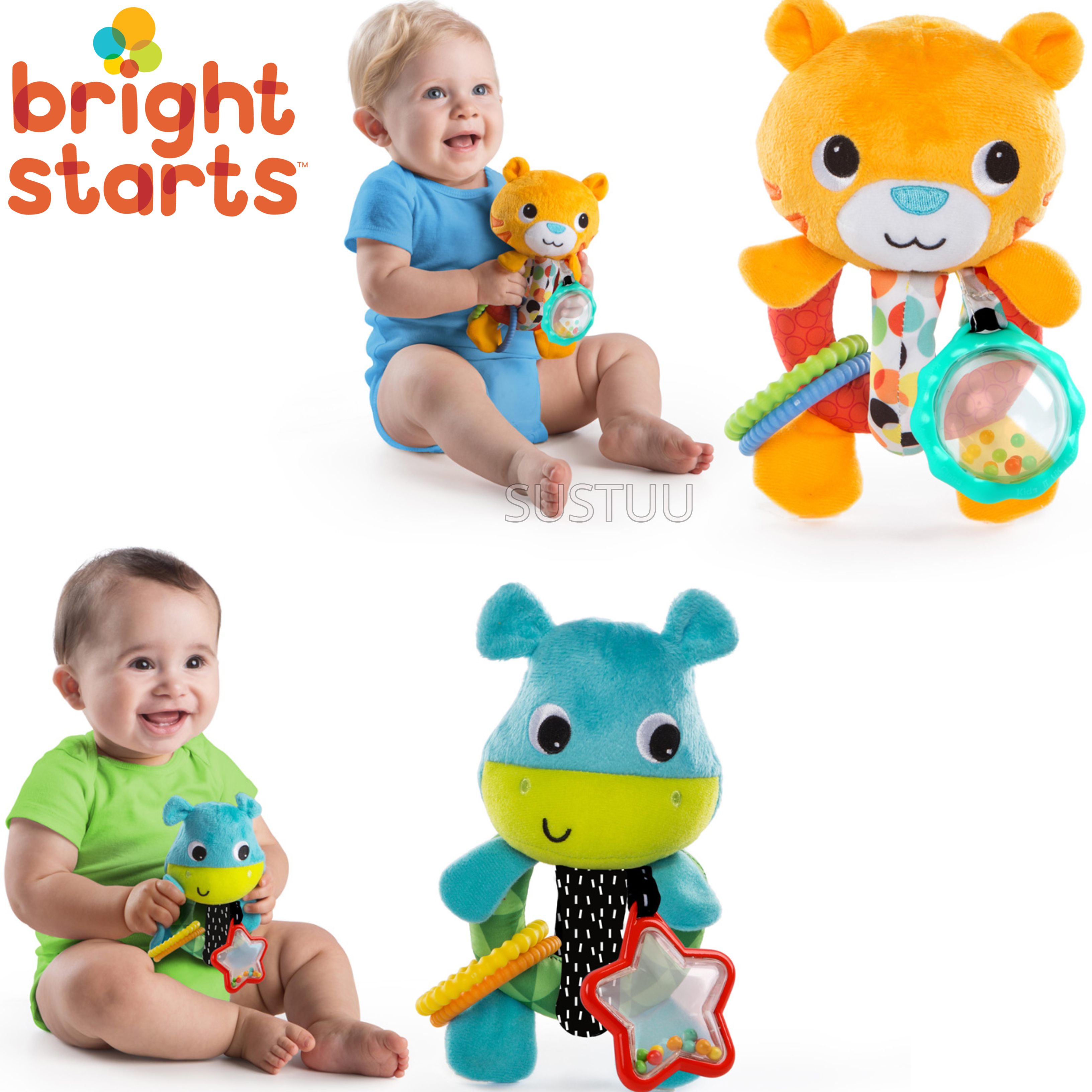 Bright Starts Grab Me Friends | Baby/ Toddler/ Kid's Soft Plush Toy+Teething Ring | +3 Months