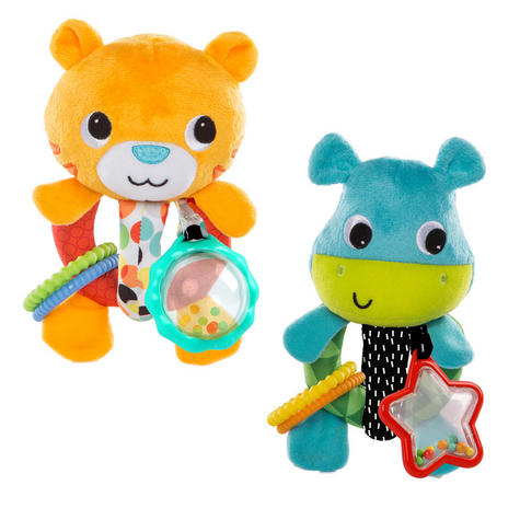 Bright Starts Grab Me Friends | Baby/ Toddler/ Kid's Soft Plush Toy+Teething Ring | +3 Months Thumbnail 2