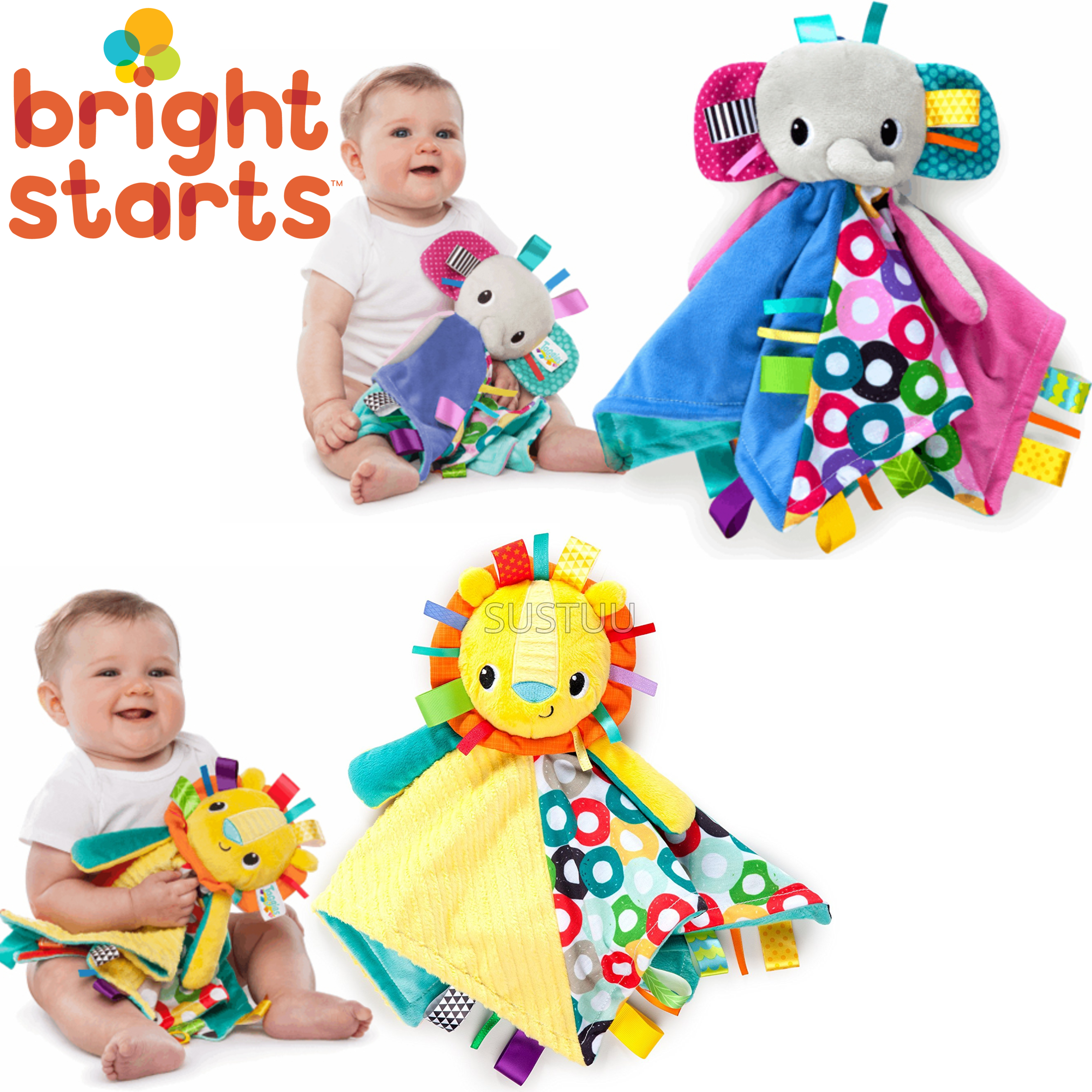 Bright Starts Taggies Cuddles N Tags Blankie-Lion | Soft Fabric & Machine-Washable