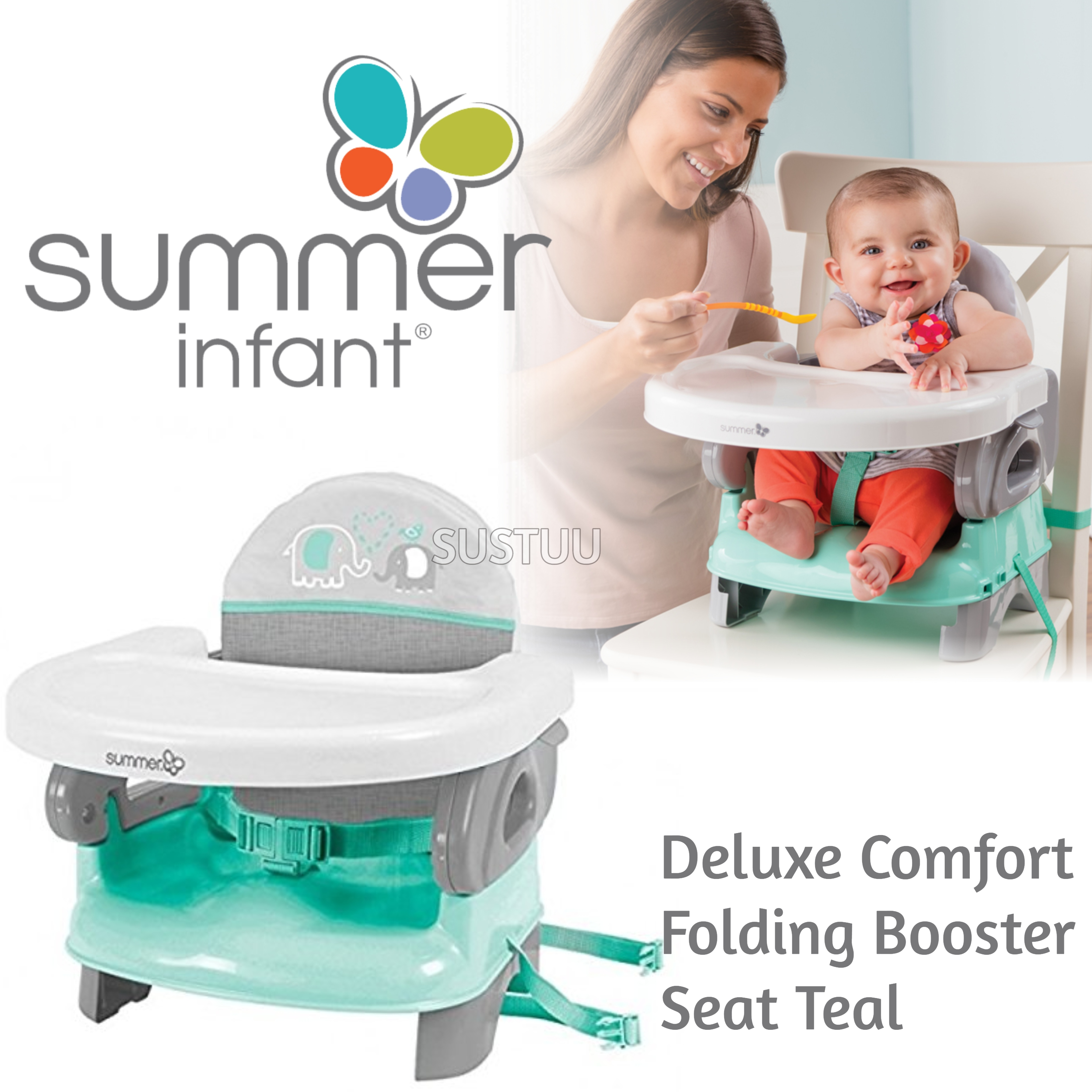 Summer Infant Deluxe Comfort Folding Booster Seal|Indoor Outdoor Fedding|Teal|