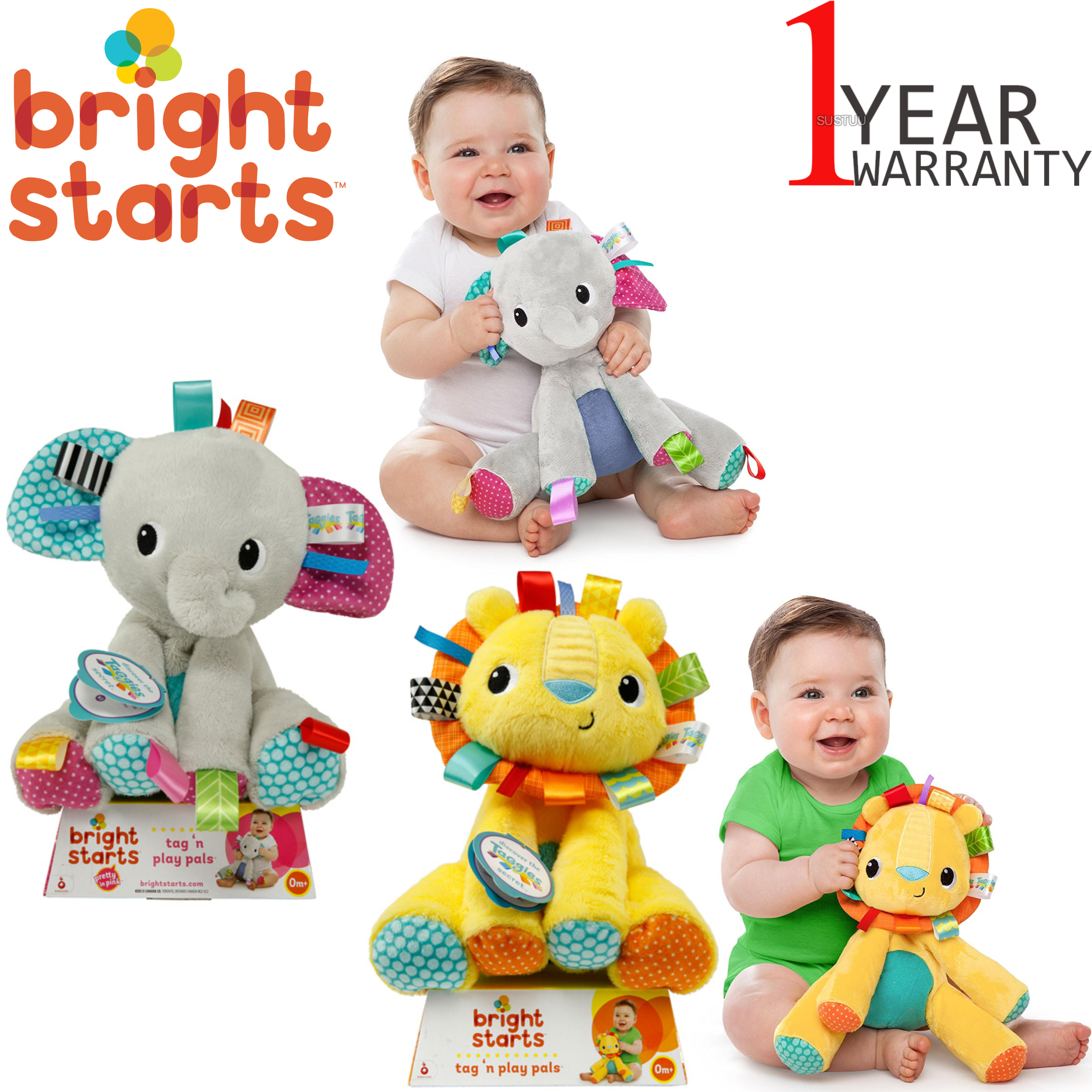 Bright Starts Tag 'n Play Pals Assorted Characters | Kids Activity Toy With Sounds