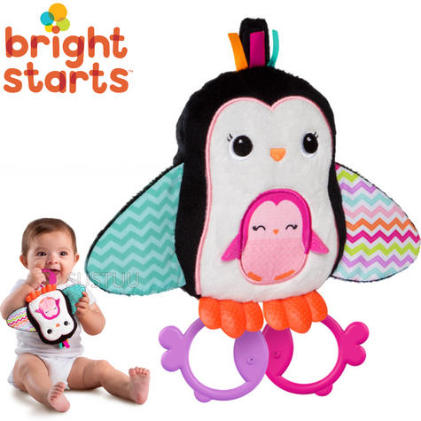 Bright Starts Teethe & Squeak Penguins | Baby/Kid's Soft and cuddly Toy | With Sound | +3 Months Thumbnail 1