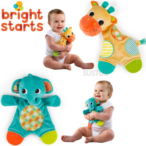Bright Starts Snuggle and Teethe | Baby/ Kid's Soft Plush Toy+Teether | Clip On Pram | +0 Months Thumbnail 1