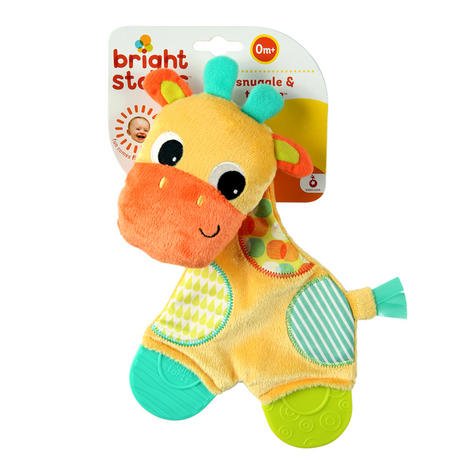 Bright Starts Snuggle and Teethe | Baby/ Kid's Soft Plush Toy+Teether | Clip On Pram | +0 Months Thumbnail 4