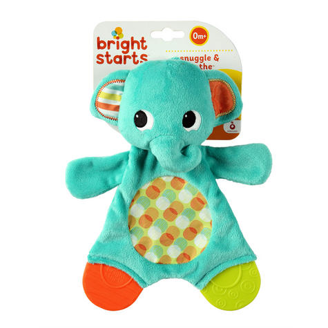 Bright Starts Snuggle and Teethe | Baby/ Kid's Soft Plush Toy+Teether | Clip On Pram | +0 Months Thumbnail 7