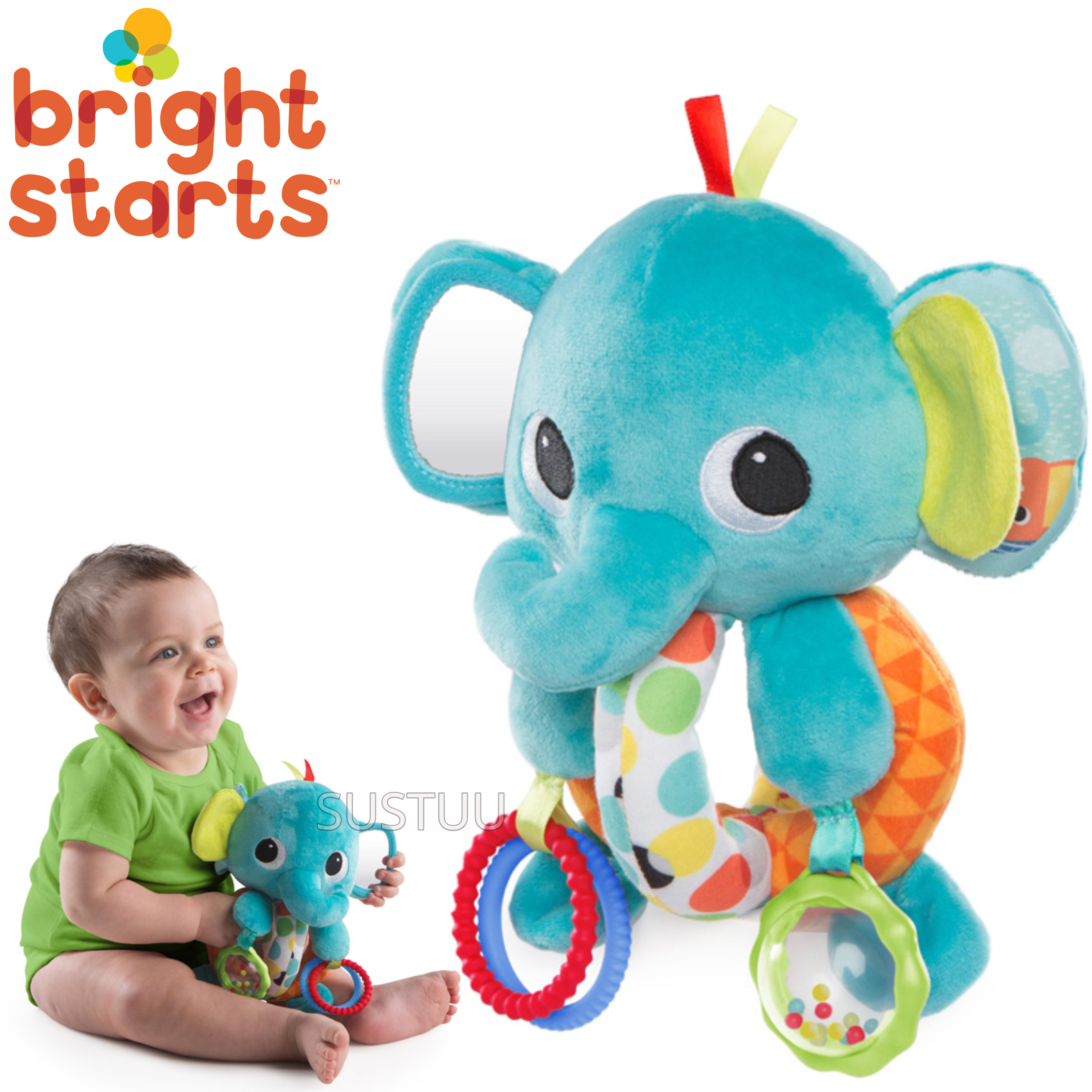 Bright Starts Explore & Cuddle Elephant | Baby/ Kid's Soft Plush Toy | With Sound | +0 Months