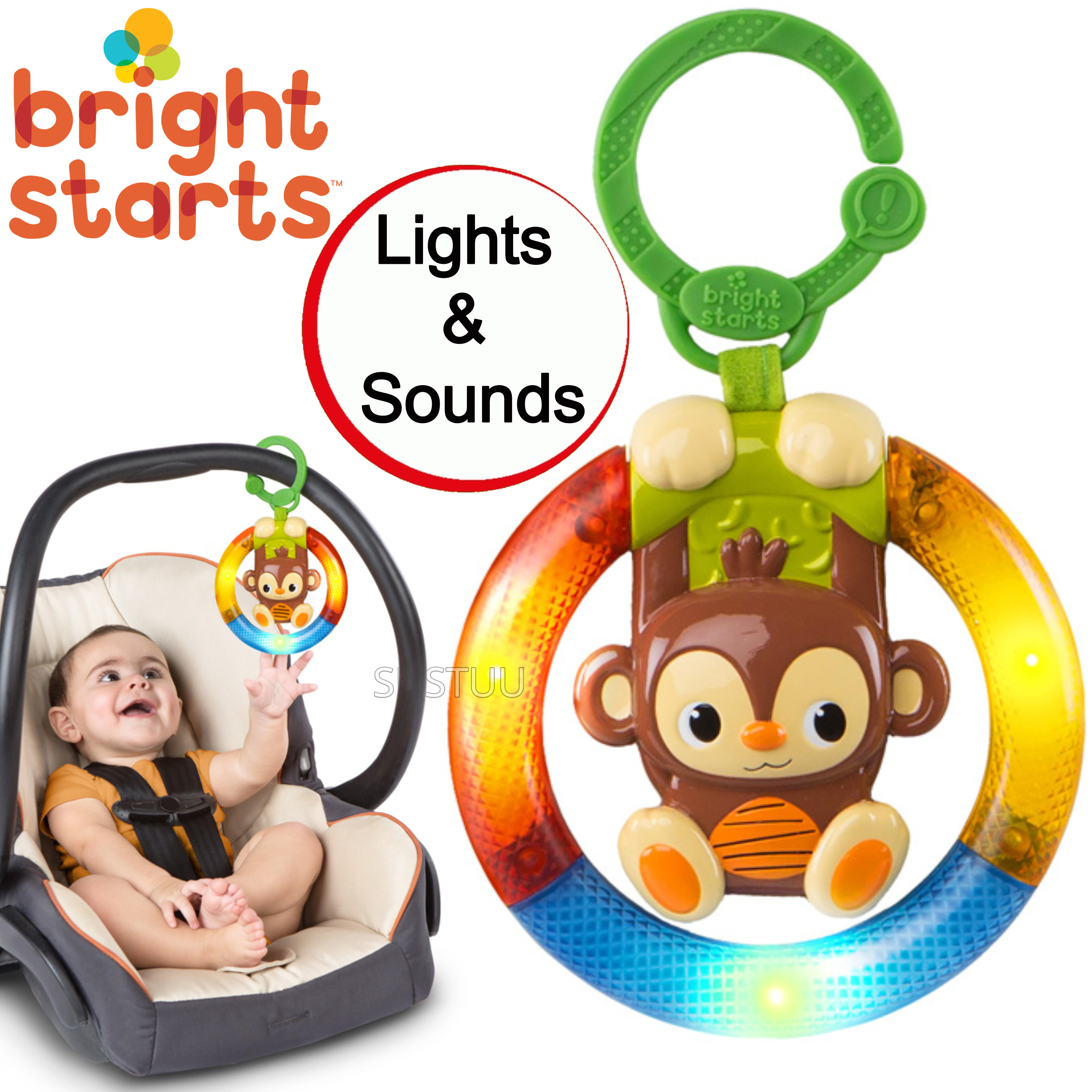 Bright Starts Shake & Glow Kids Monkey Toy With Rattle | Clip On Carrier+Stroller