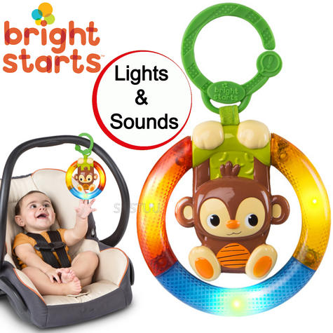 Bright Starts Shake & Glow Kids Monkey Toy With Rattle | Clip On Carrier+Stroller Thumbnail 1