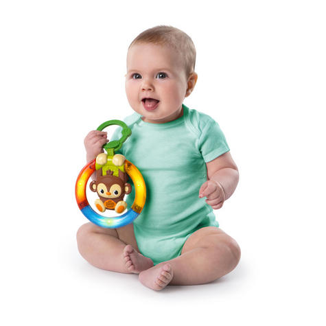 Bright Starts Shake & Glow Kids Monkey Toy With Rattle | Clip On Carrier+Stroller Thumbnail 3