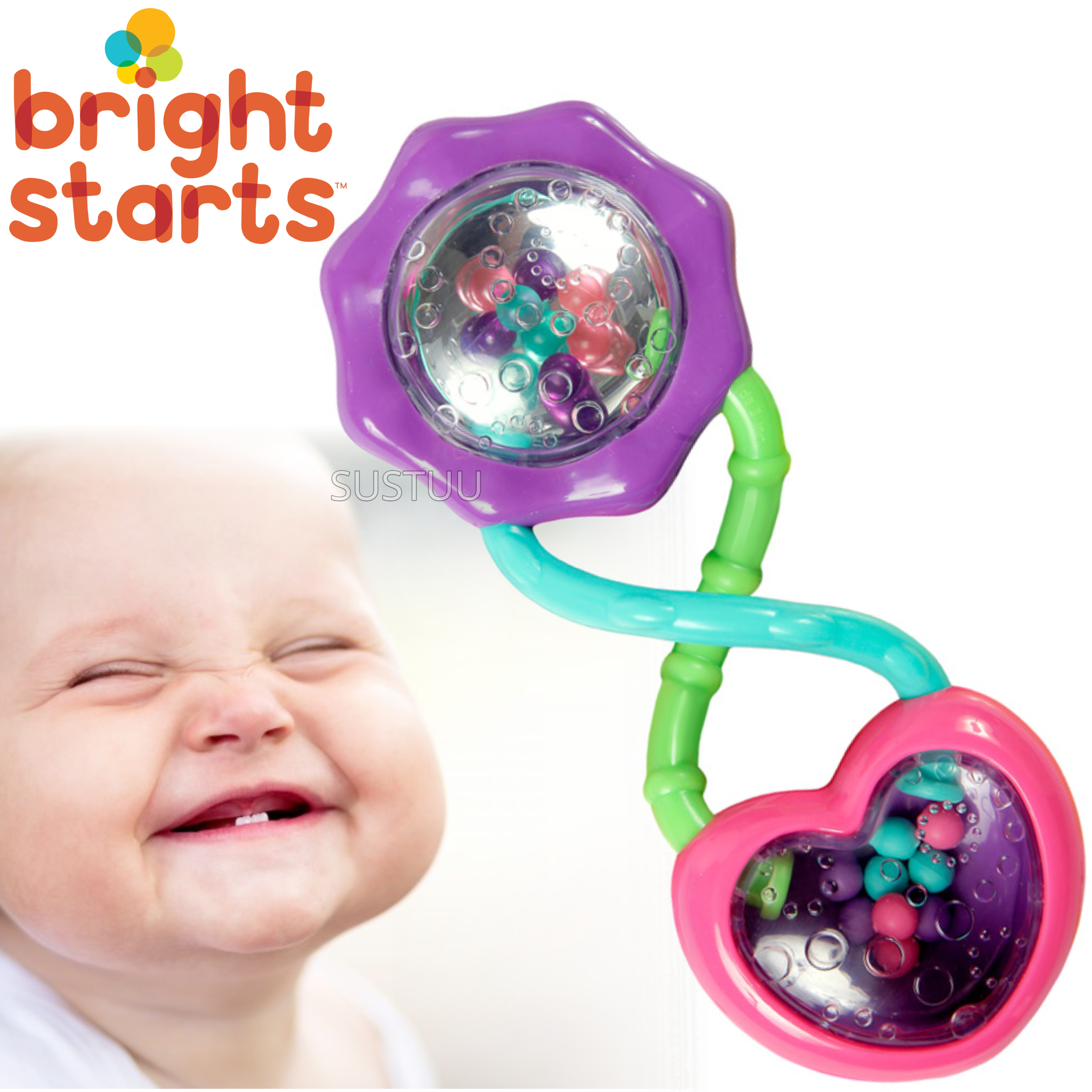 Bright Starts - Pink Rattle & Shake Barbell | Kids Activity Toy With Beads+Mirror