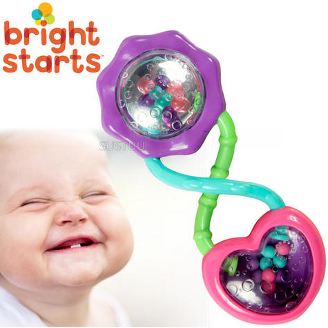 Bright Starts - Pink Rattle & Shake Barbell | Kids Activity Toy With Beads+Mirror Thumbnail 1