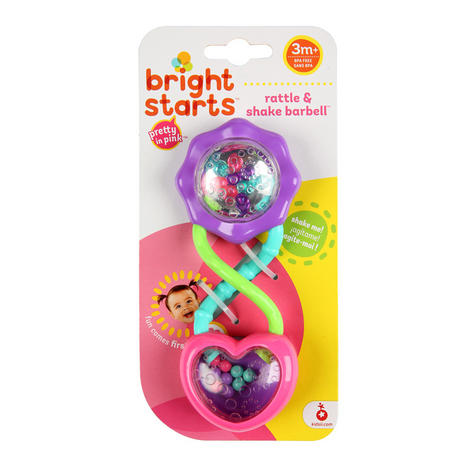 Bright Starts - Pink Rattle & Shake Barbell | Kids Activity Toy With Beads+Mirror Thumbnail 3