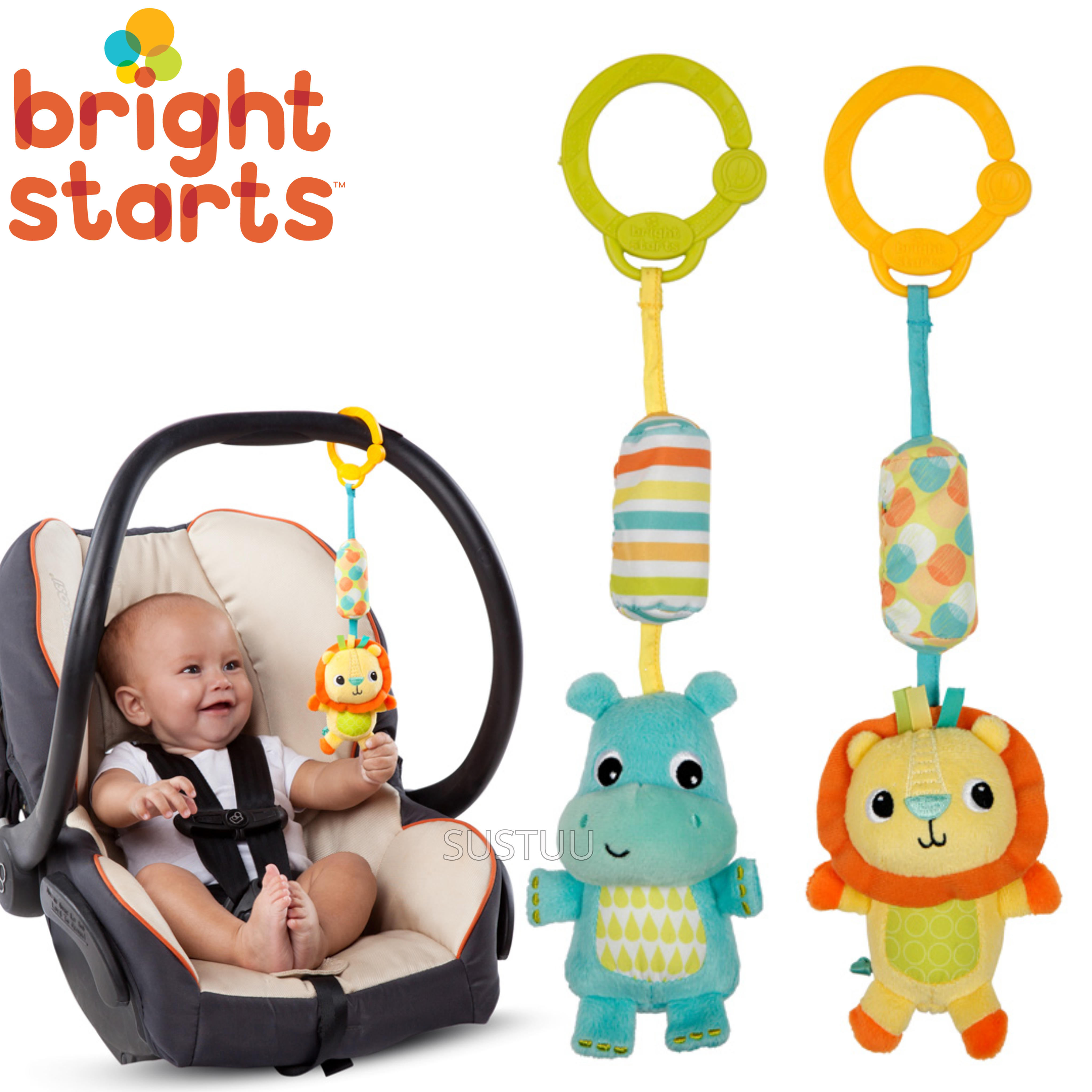 Bright Starts Chime Along Friends | Attaches To Carriers,Strollers,Diaper bag | 0m+