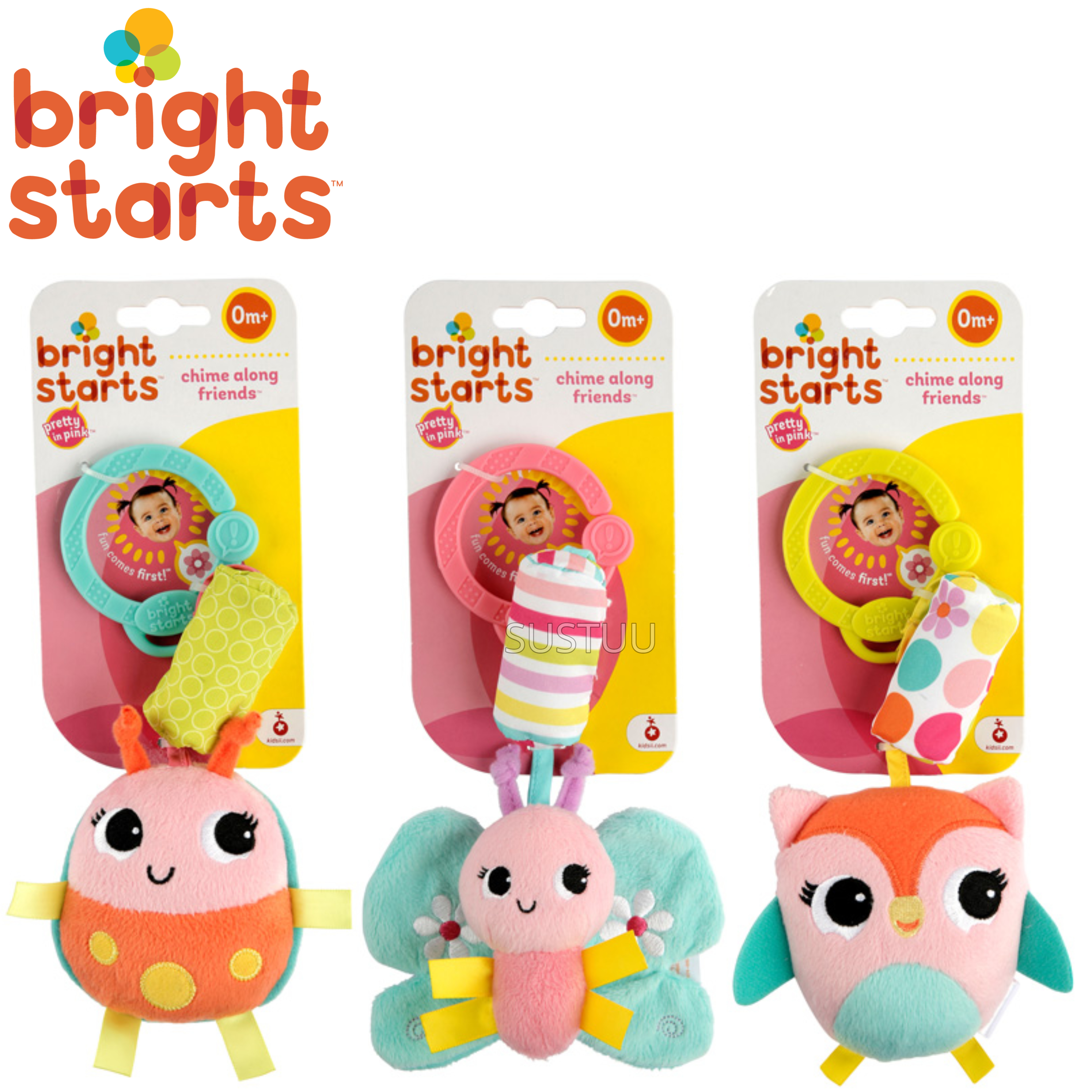 Bright Starts Pretty in Pink Chime Along Friends | Attaches To Carriers,Strollers