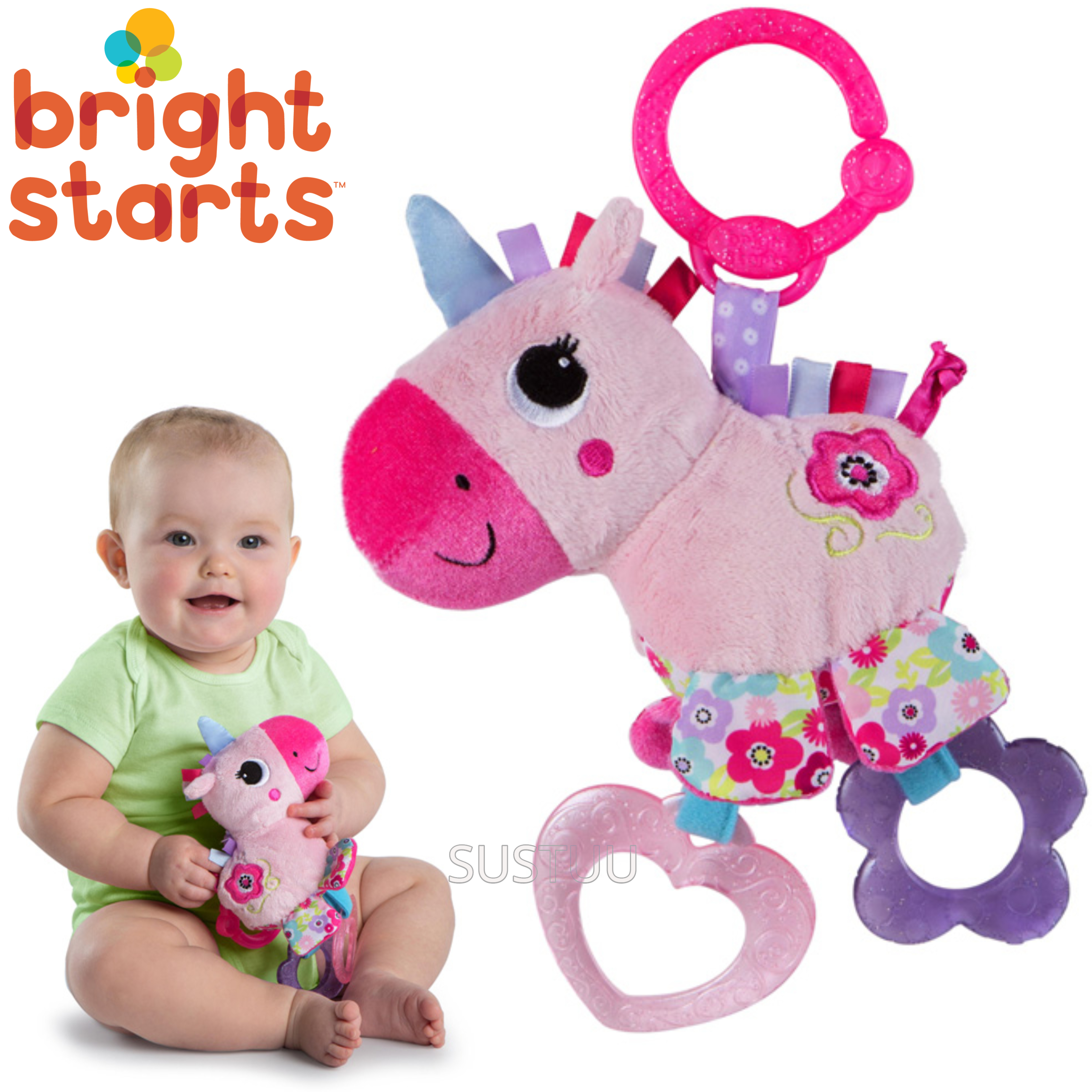 Bright Starts Sparkle N Shine Unicorn | Clip On Pram/Pushchair Soft Toy | With Sound | +0 Months