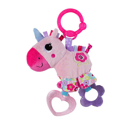 Bright Starts Sparkle N Shine Unicorn | Clip On Pram/Pushchair Soft Toy | With Sound | +0 Months Thumbnail 2
