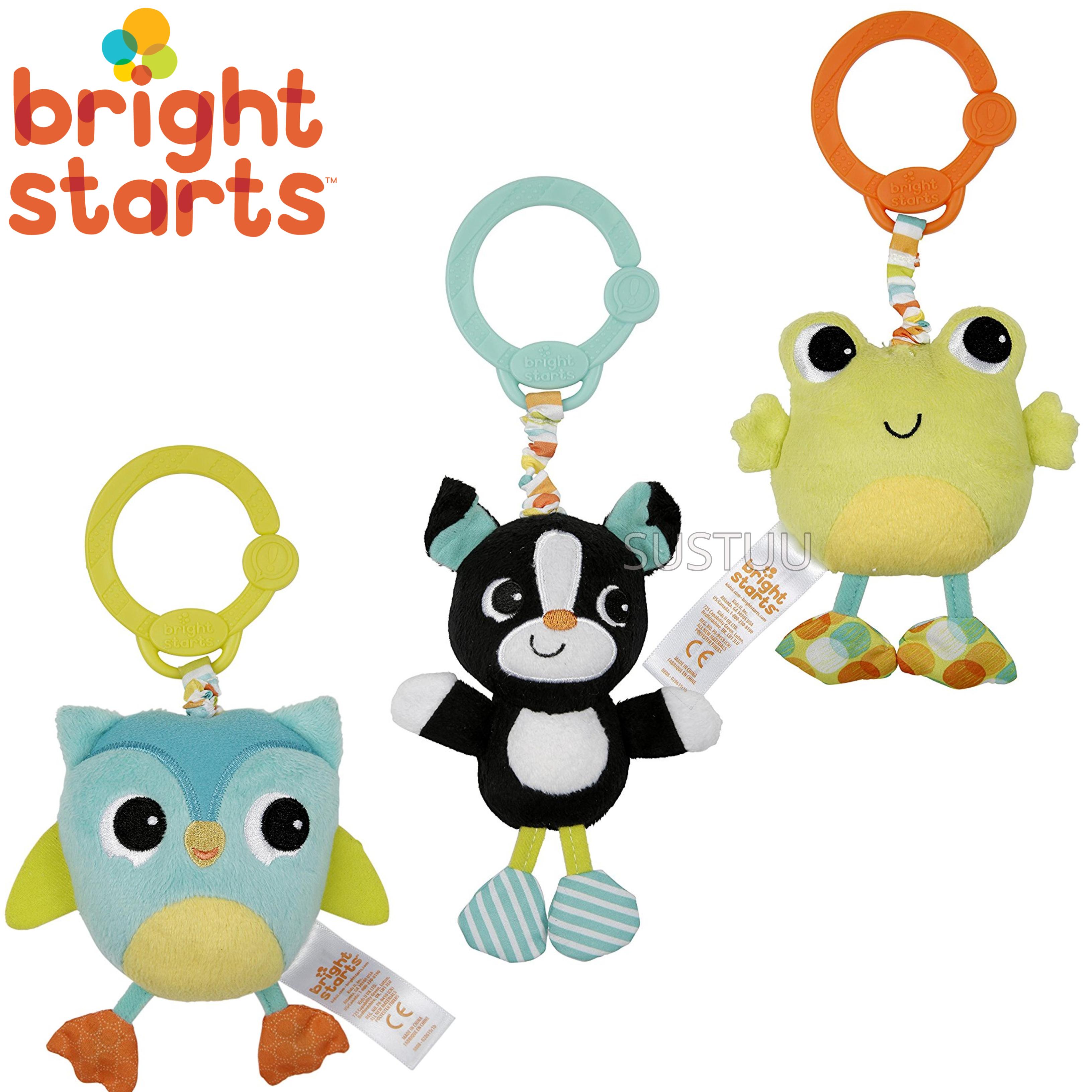 Bright Starts Take & Shake Animals | Clip On Pram/ Pushchair/Stroller | Soft Toy | +0 Months