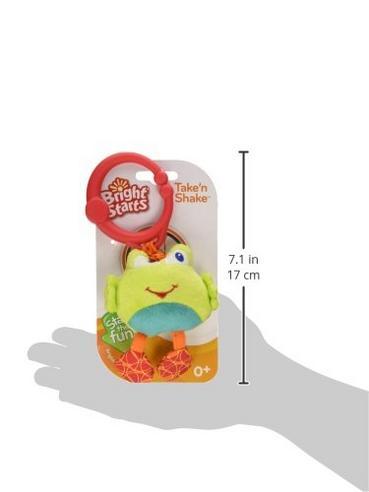 Bright Starts Take & Shake Animals | Clip On Pram/ Pushchair/Stroller | Soft Toy | +0 Months Thumbnail 6