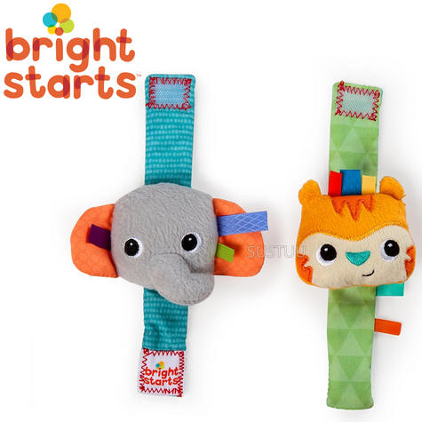 Bright Starts Taggies Rattle Me Wrist Pals | Kids Activity Toy With Crinkle Sound Thumbnail 1