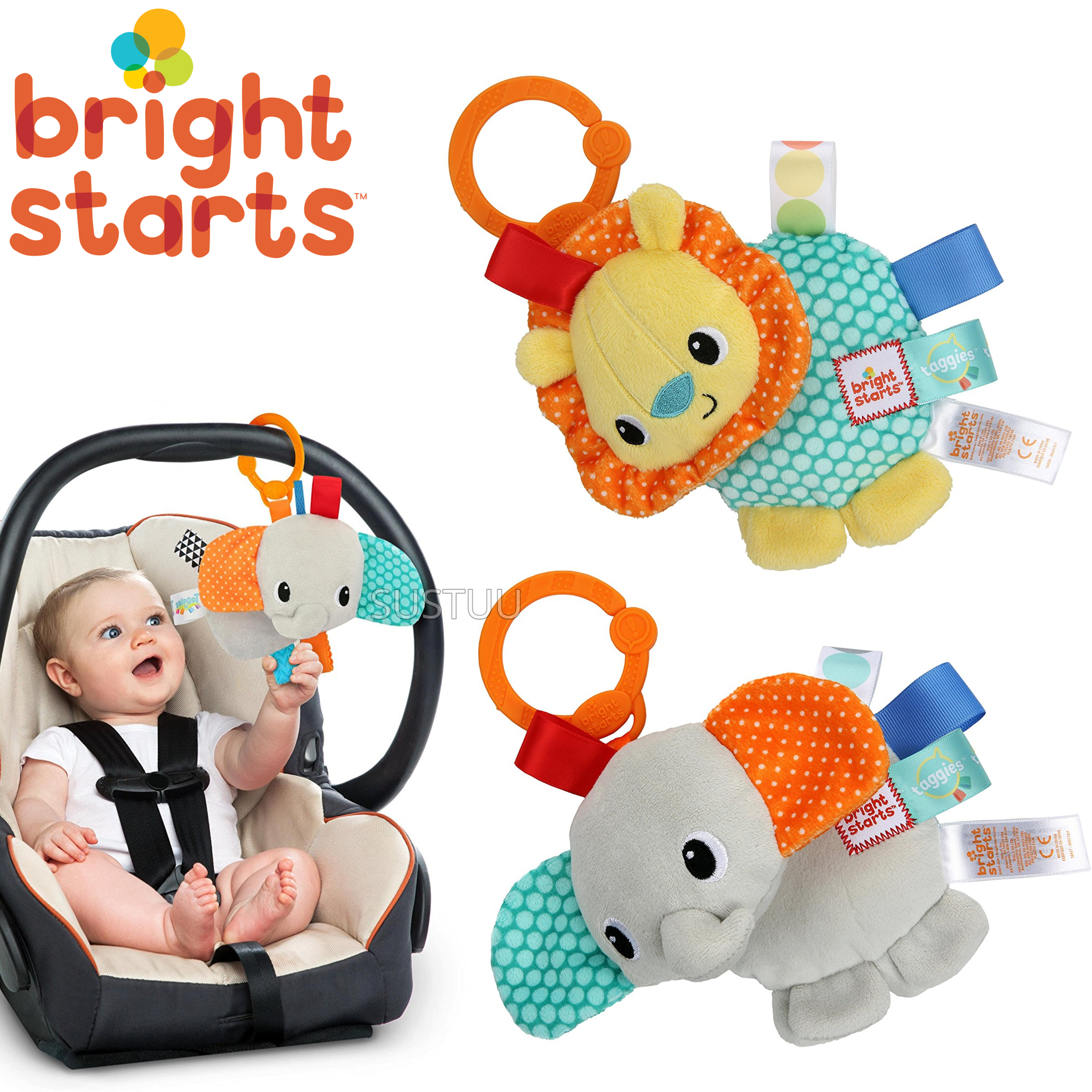 Bright Starts Taggies Friends For Me | Clip On Carriers,Strollers | Kids Soft Toys