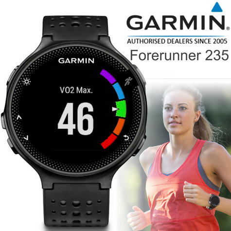 Garmin Forerunner 235 GPS Running Sports Watch | Heart Rate/Live Tracking | Black & Grey Thumbnail 1