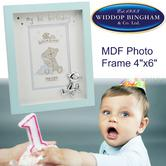 "Button Corner MDF Photo Picture Frame|3D Silverplated Teddy|1st Birthday|4""x 6"""