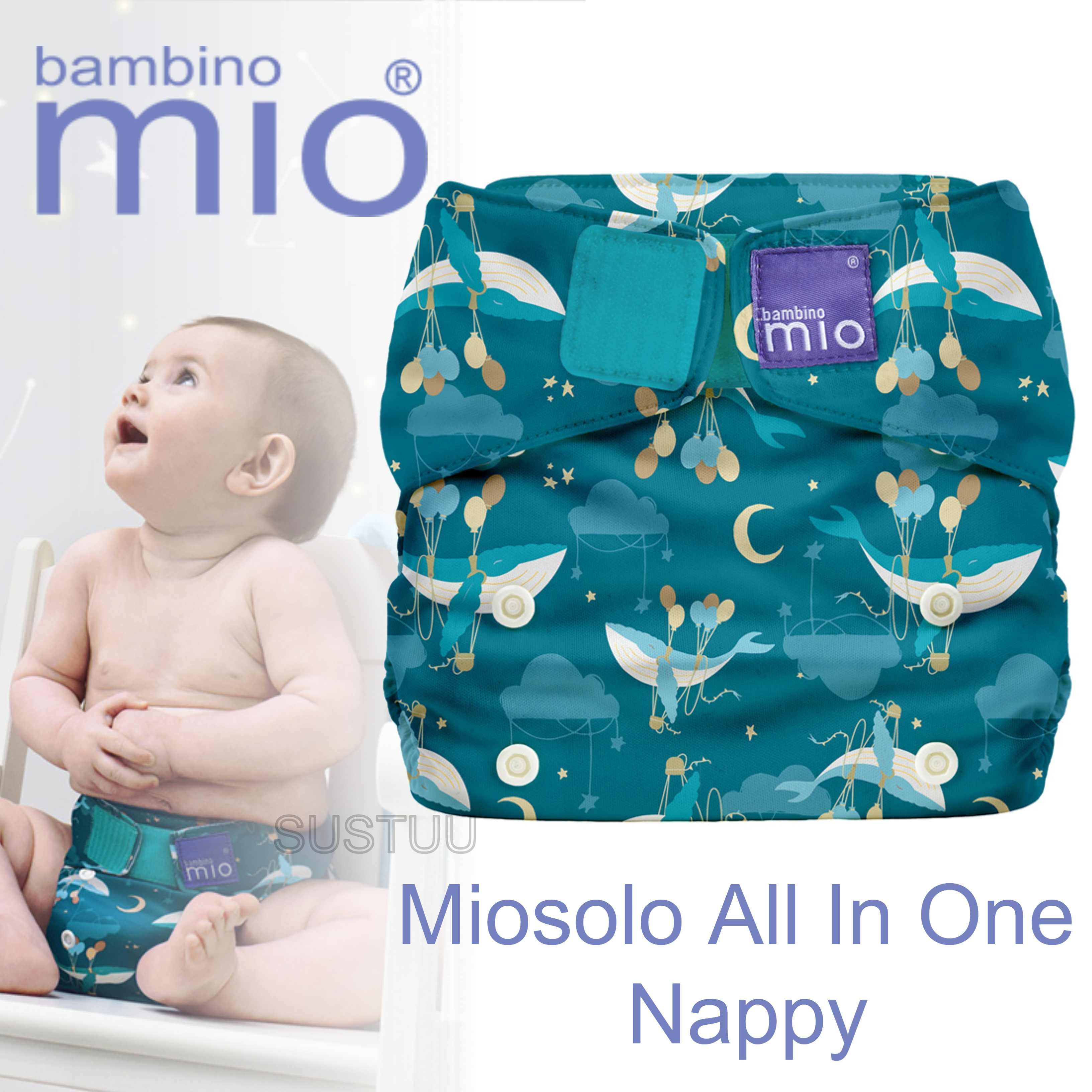 Bambino Mio Miosolo All In One Nappy|Polyester|For Baby No Moisturiser|Sail Away