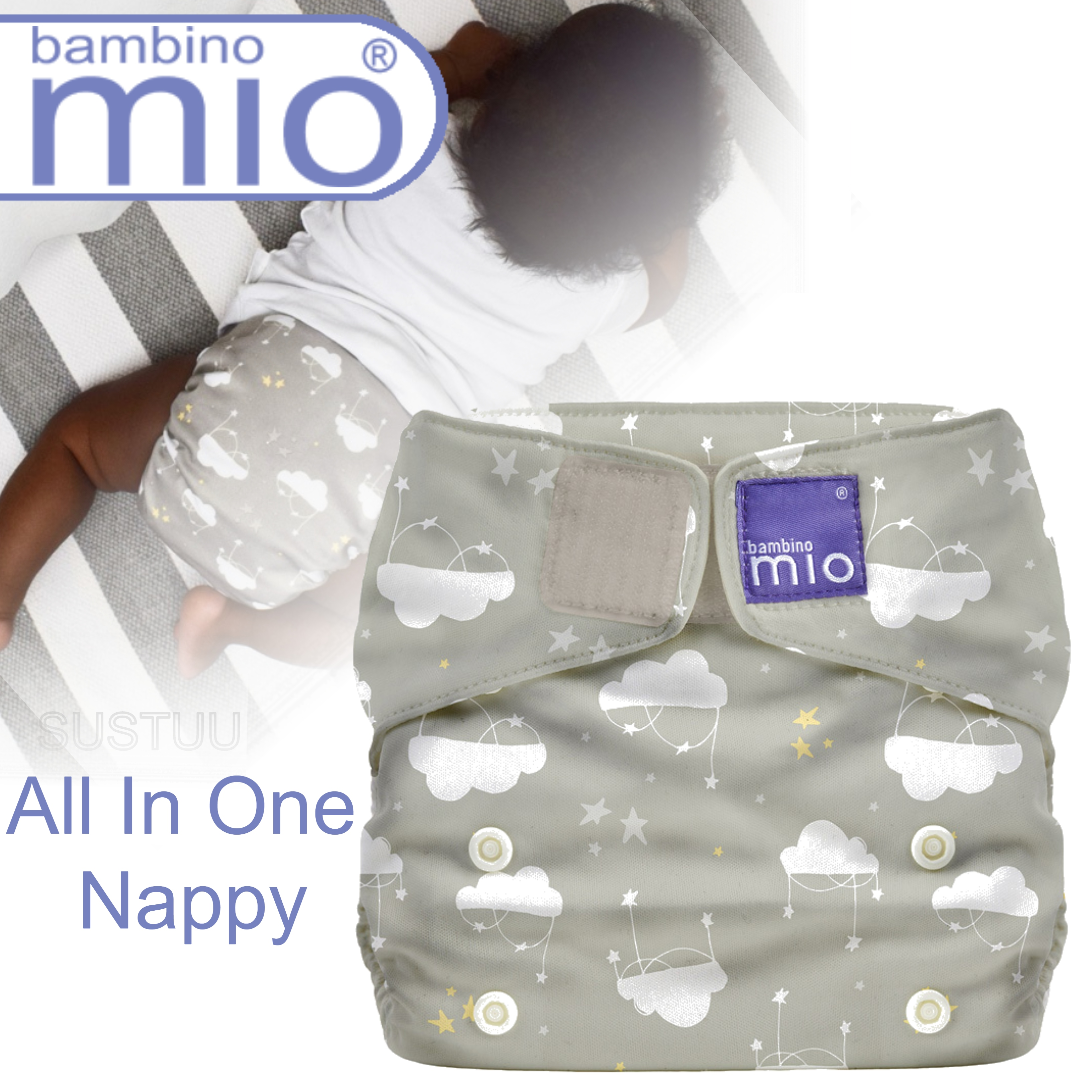 Bambino Mio Miosolo All In One Nappy|Polyester|For Baby No Moisturiser|Cloud Nine