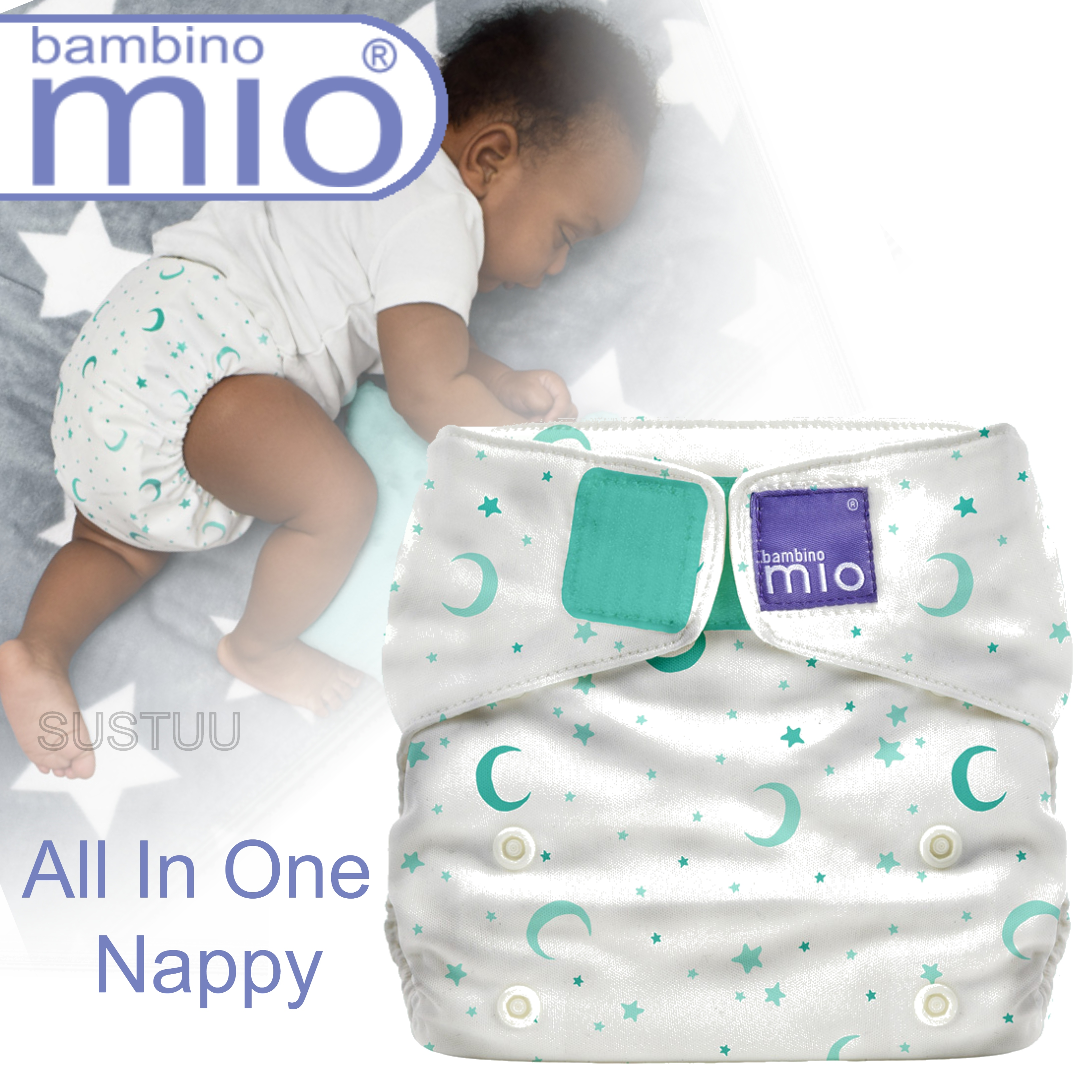 Bambino Mio Miosolo All In One Nappy|Polyester|For Baby No Moisturiser|Sweet Dreams