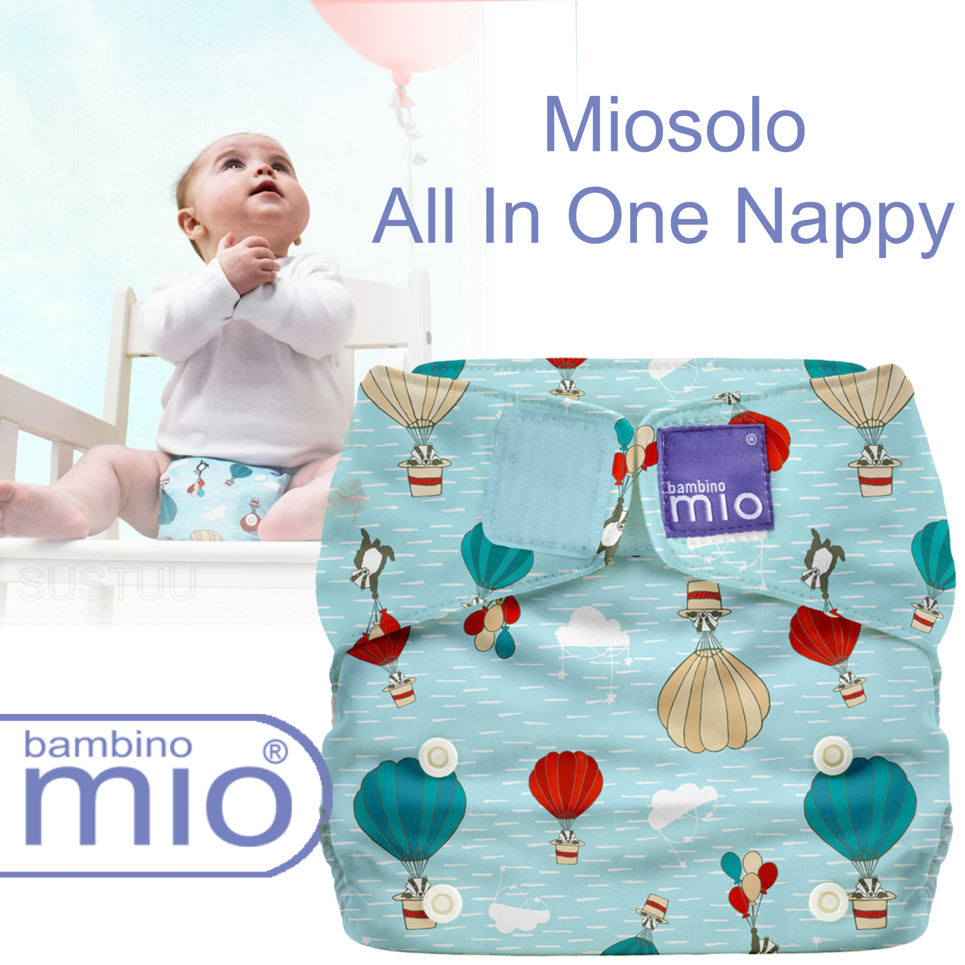 Bambino Mio Miosolo All In One Nappy|Polyester|For Baby No Moisturiser|Sky Ride