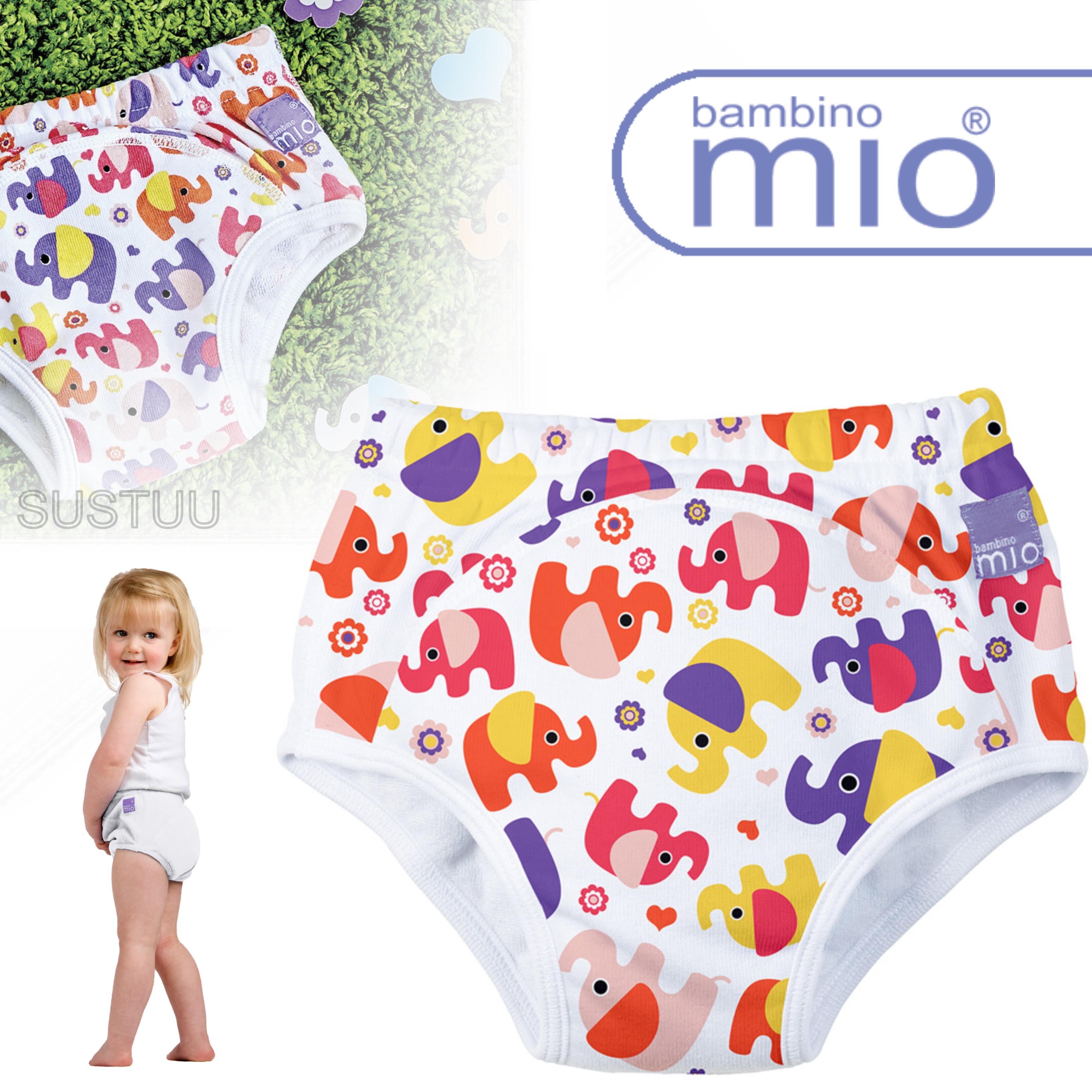 New Bambino Mio Potty Training Pants Pink Elephant|Wetess Feel|80% Cotton|2-3yrs