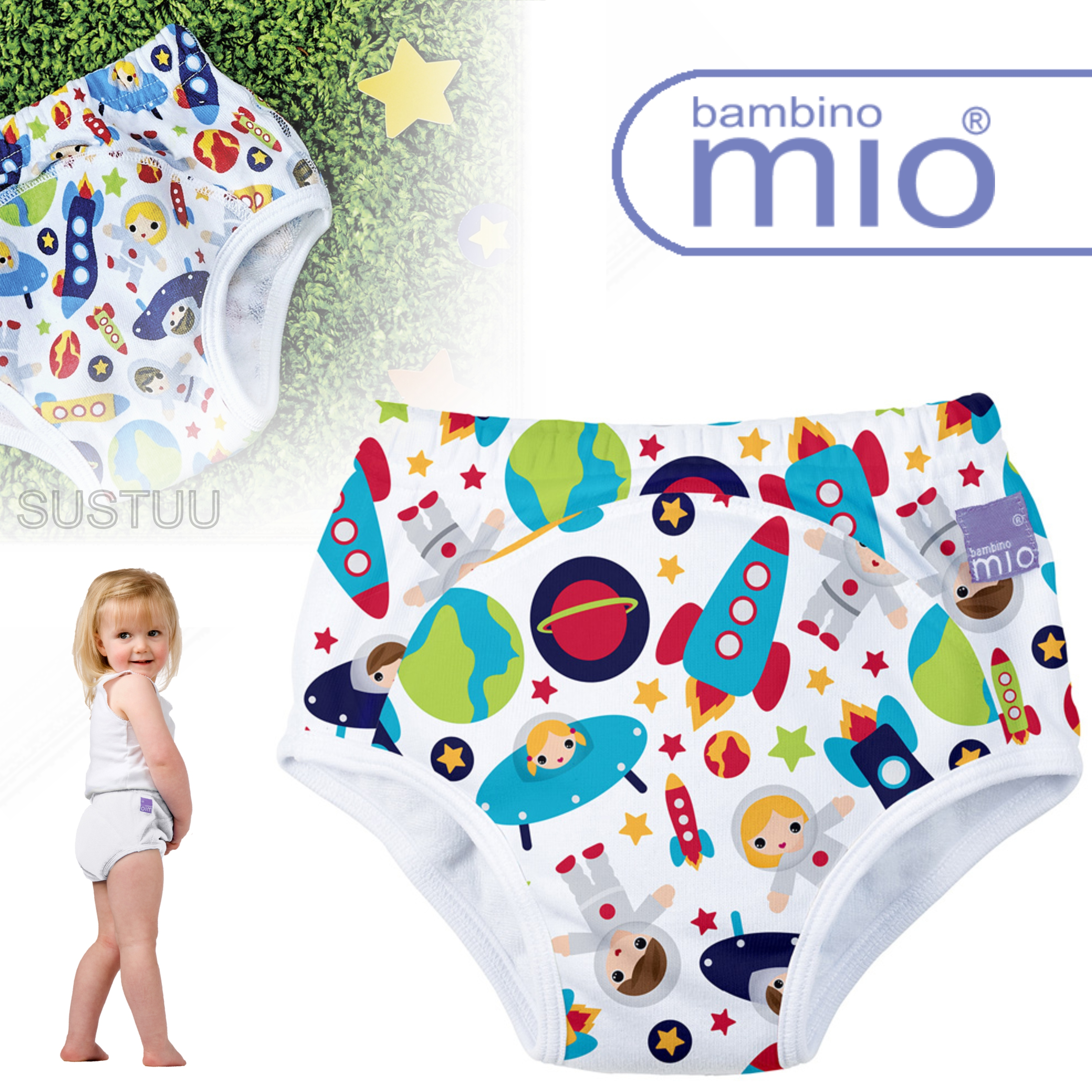 New Bambino Mio Potty Training Pants Outer Space|Wetless Feel|80% Cotton|3+yrs