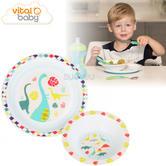 Vital Baby Dinosaur Tableware Set | Dishwasher Safe | Anti-Slip & Printed | 2 Pieces