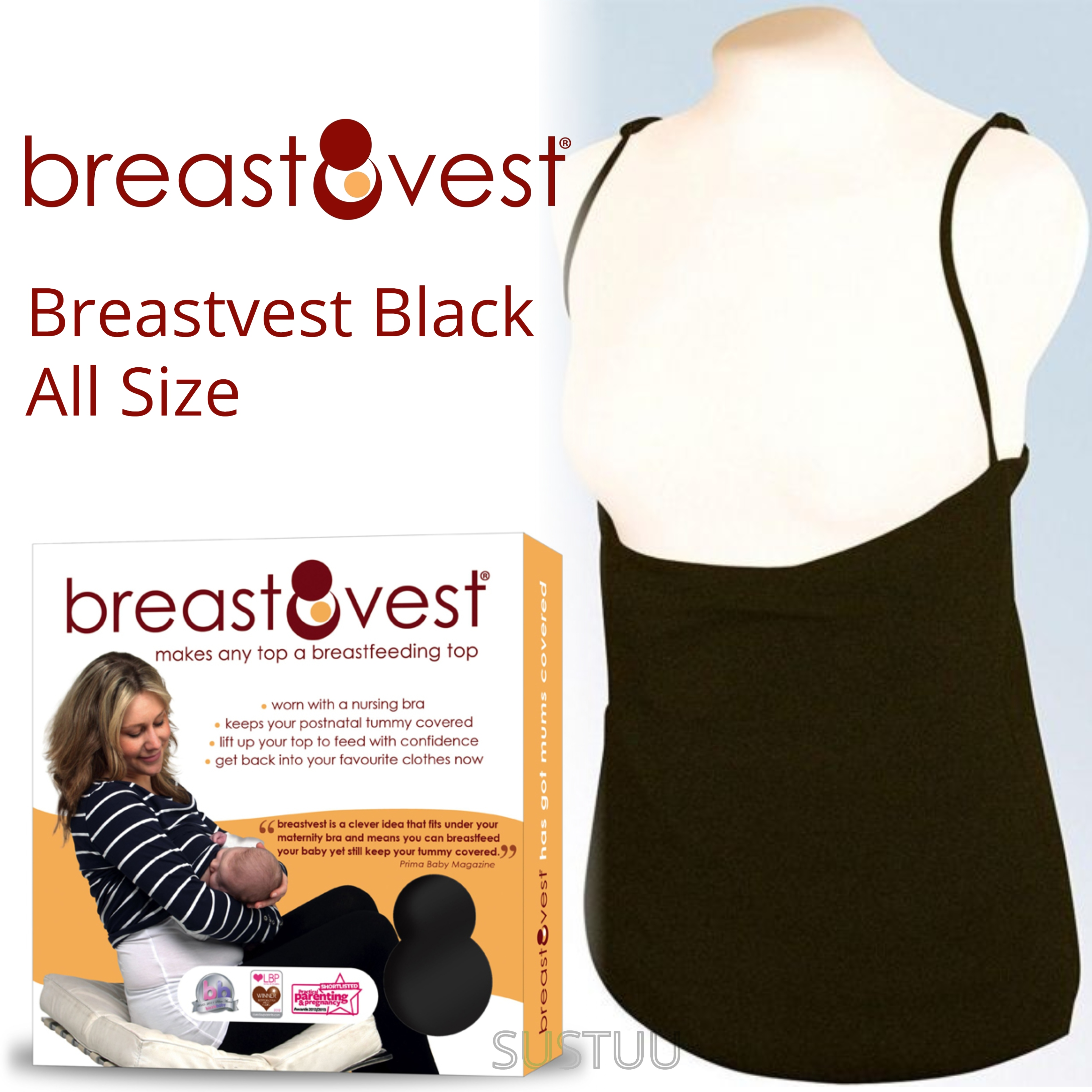 Breastvest Nursing Top Black|Maternity Clothing for Mum|Pregnancy Use|Large