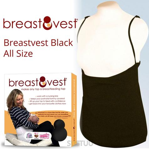 Breastvest Nursing Top Black|Maternity Clothing for Mum|Pregnancy Use|Large Thumbnail 1