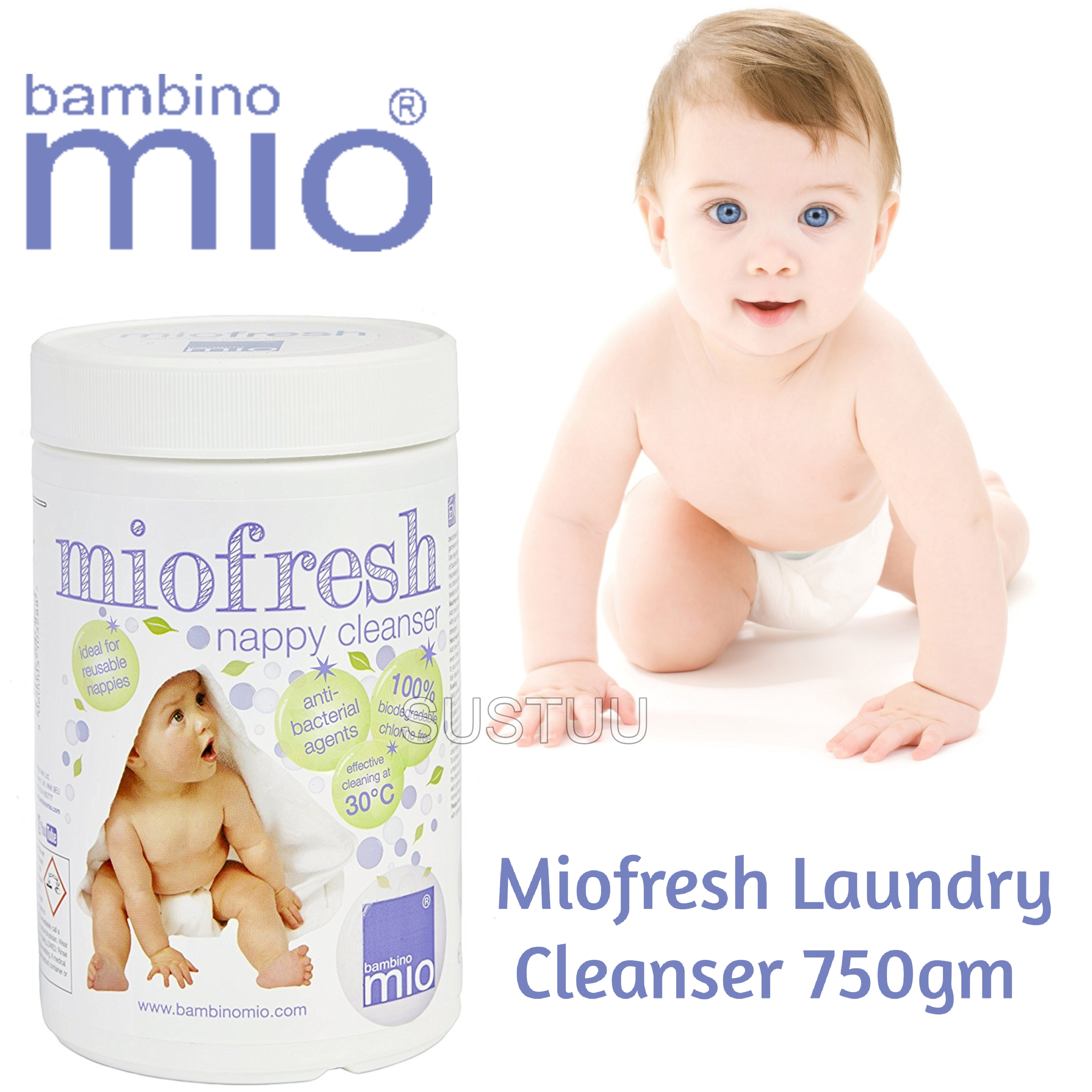 Bambino Mio Miofresh Laundry Cleanser|Kid's Nappy/Diapers Powder Cleaner|750gm|