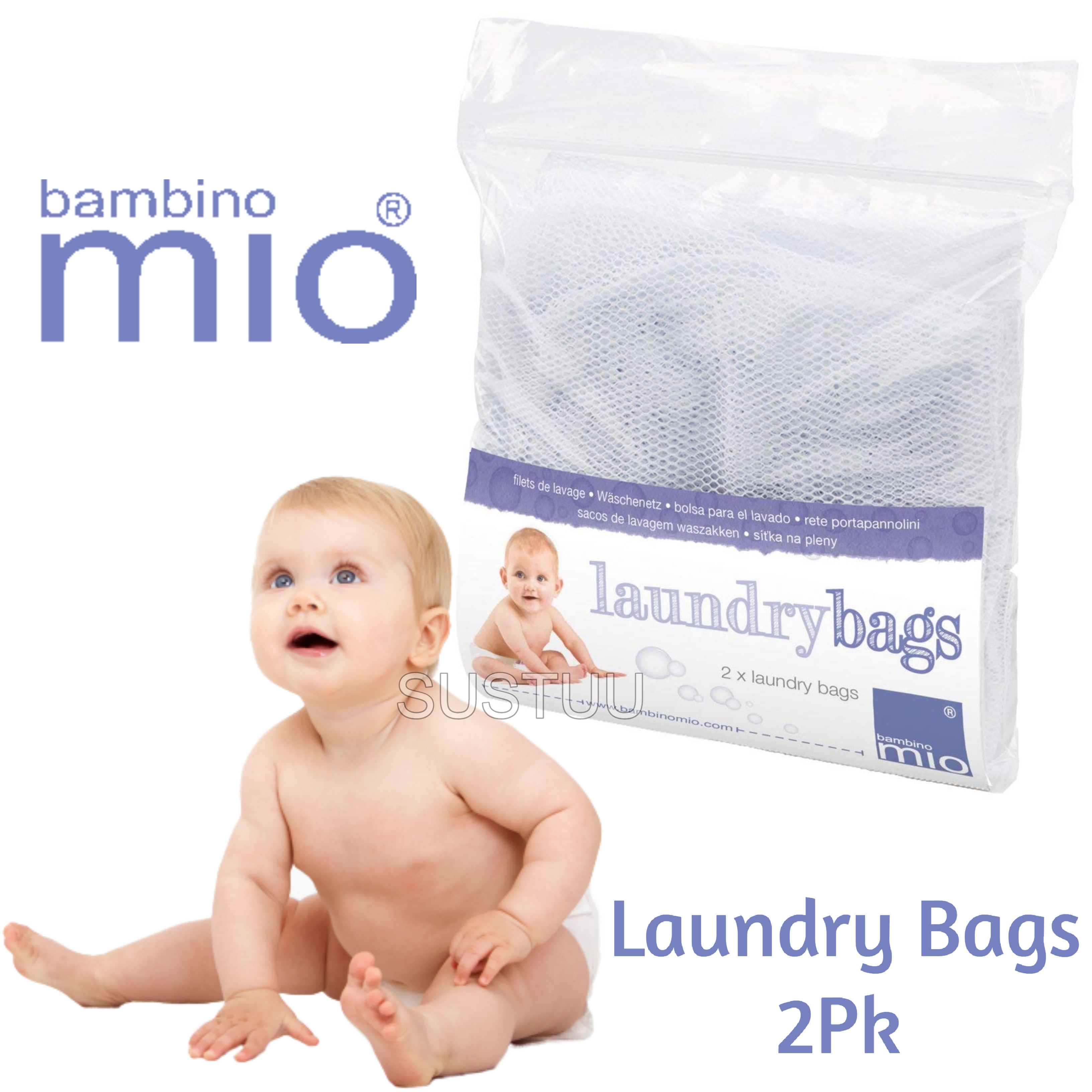 Bambino Mio Large Laundry Bags|Baby/Kid's Reusable Diaper Storage Bucket Net|2pk