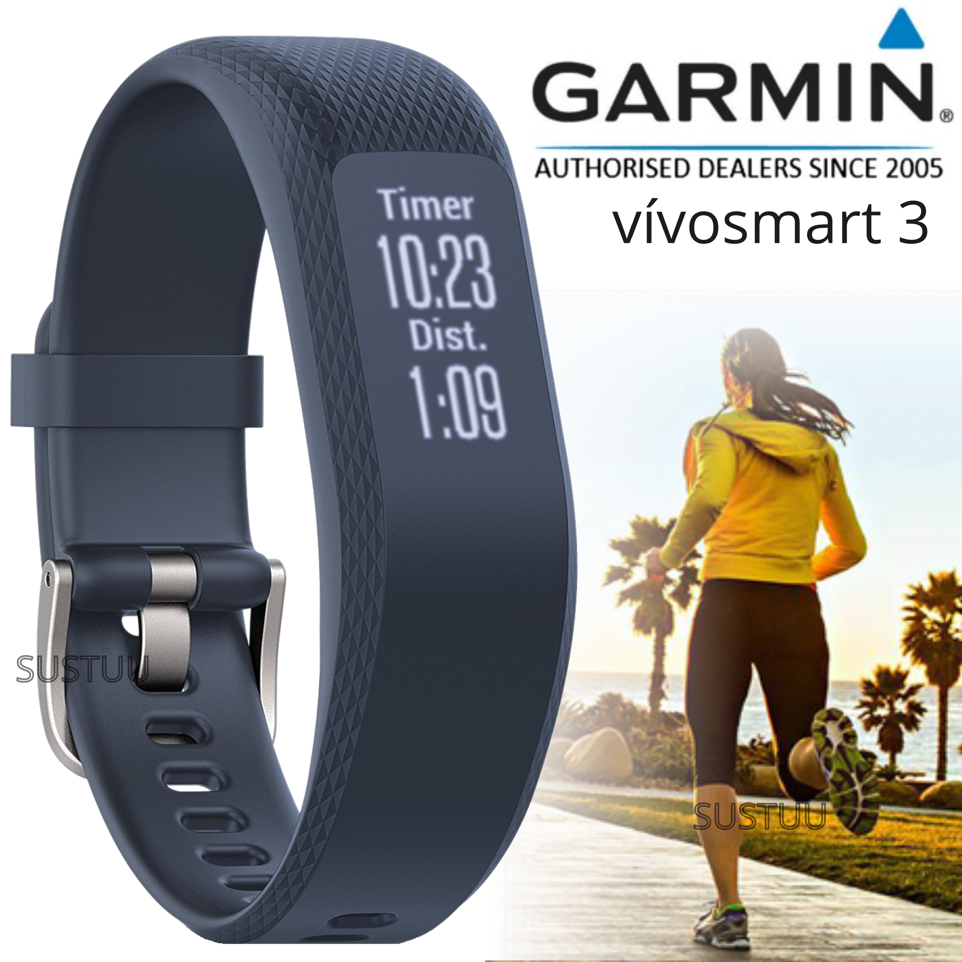 Garmin Vivosmart 3 Fitness Sports Watch|Heart Rate/Activity Tracker|Blue Small