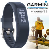 Garmin Vivosmart 3 Fitness Sports Watch|Heart Rate/Activity Tracker|Blue Small