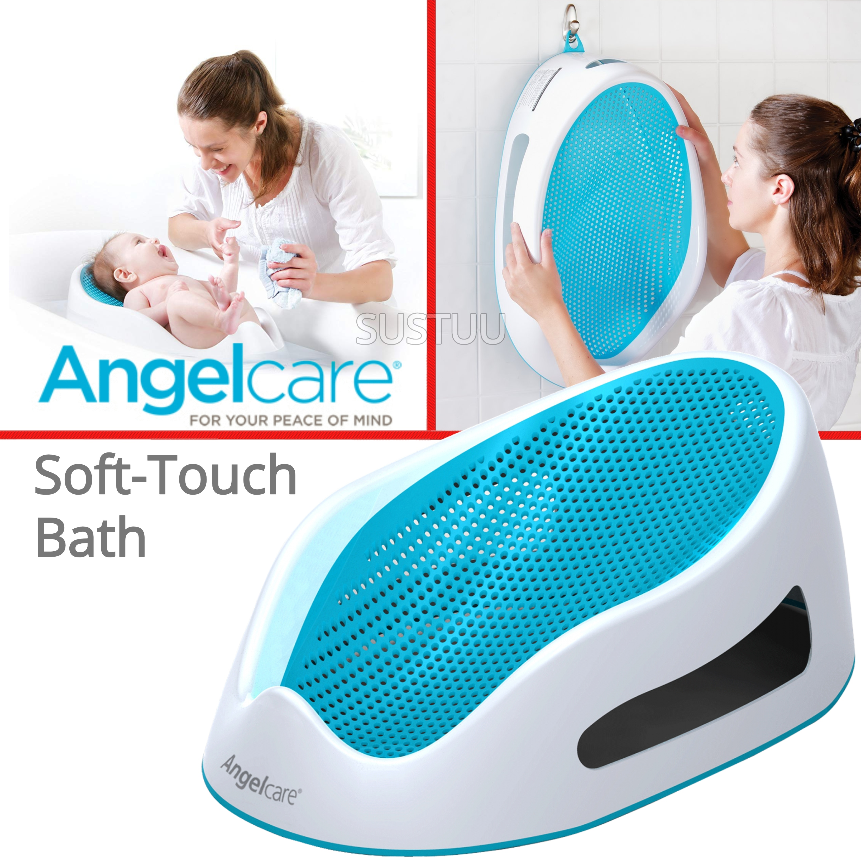 Angelcare Soft-Touch Baby Bath Support Aqua|Anti Slip|Mould Resistant|14kg Capicity